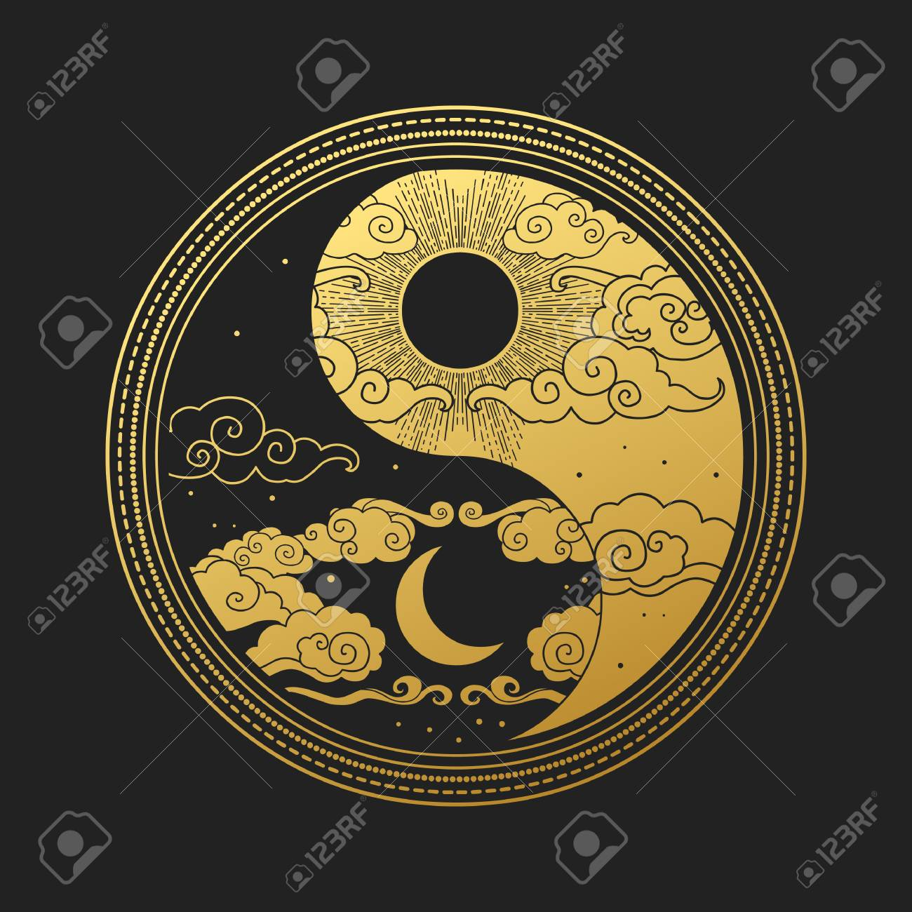 Decorative graphic design element in oriental style. Sun, Moon, clouds, stars. Vector hand drawing illustration - 119485226