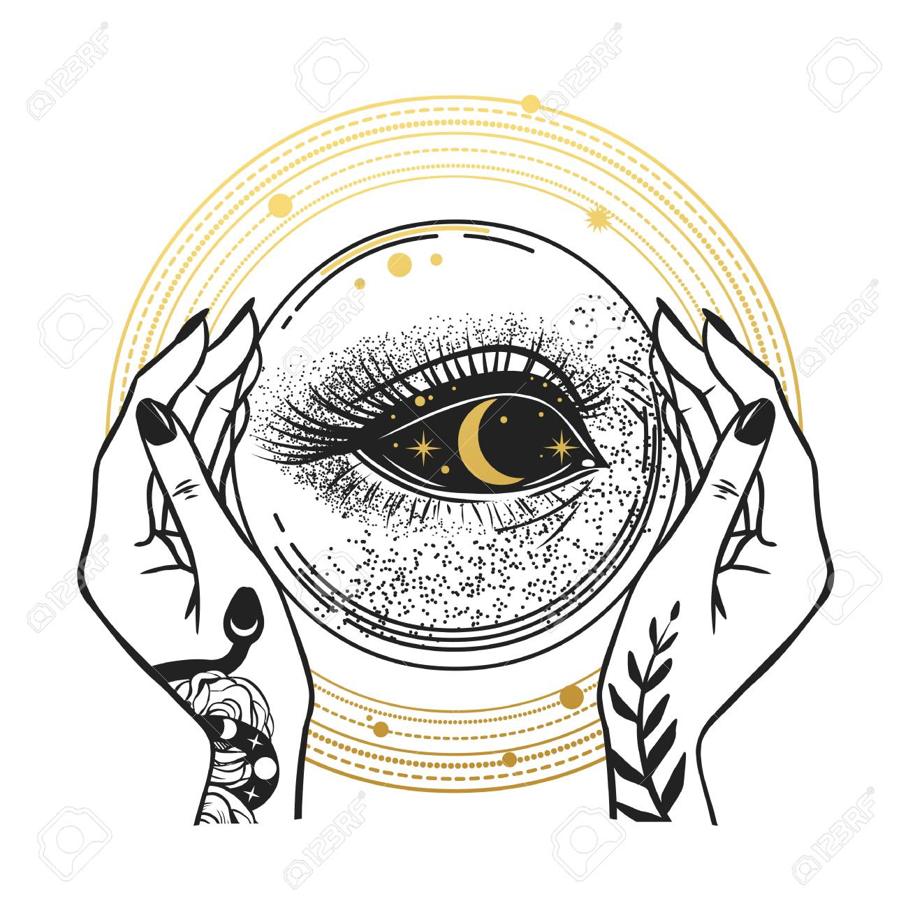 The Darkness inside of the crystal ball. T-shirt prints, temporary tattoos and other designs - 119485341