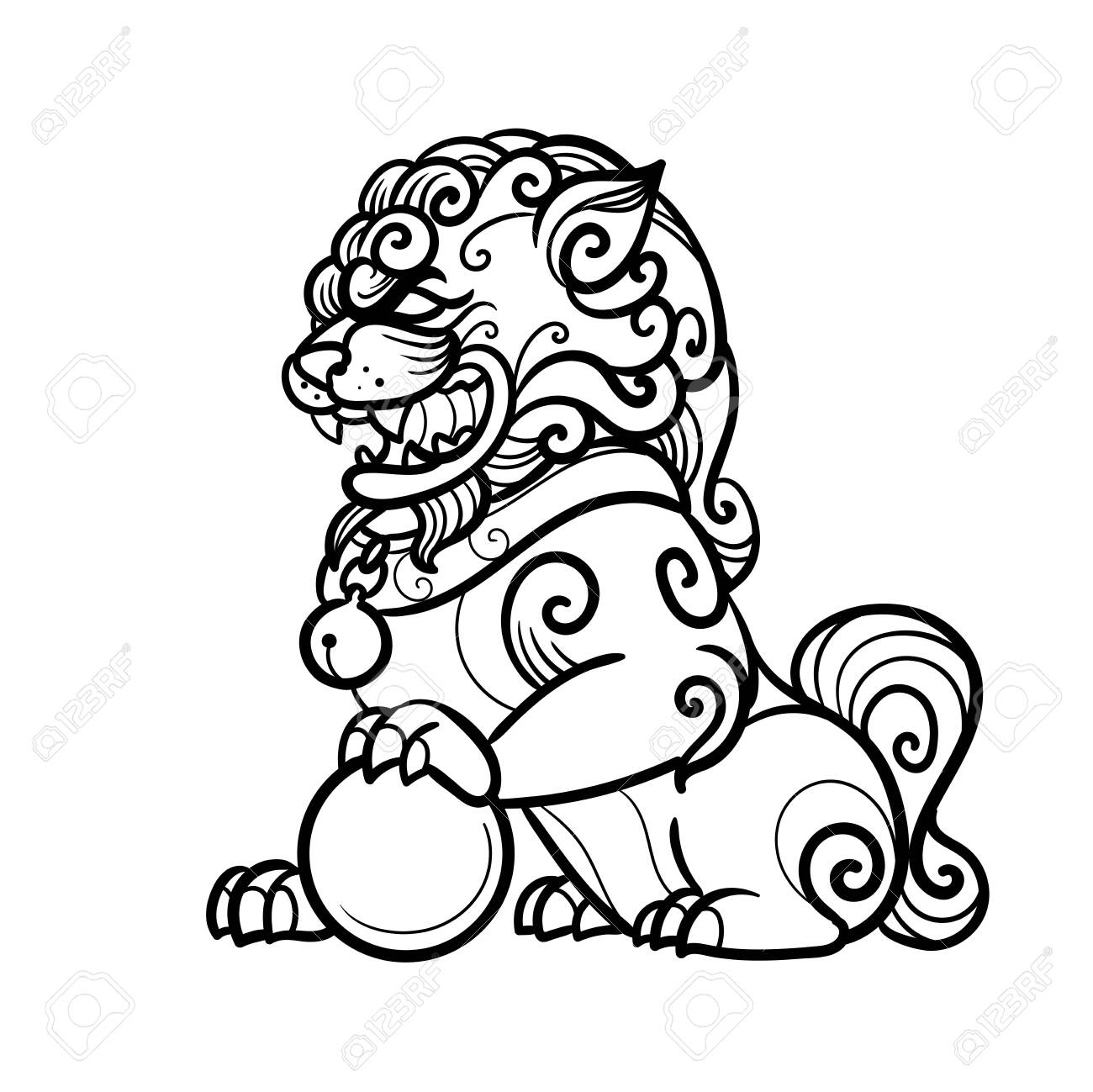 Traditional buddhist guardian lion. Vector hand drawn illustration - 148405625