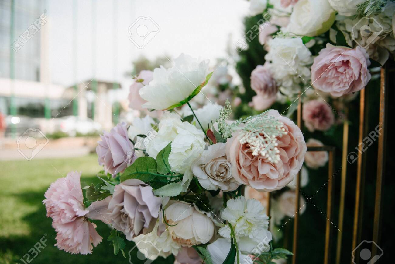 decoration and decoration of an outdoor wedding ceremony - 142232369