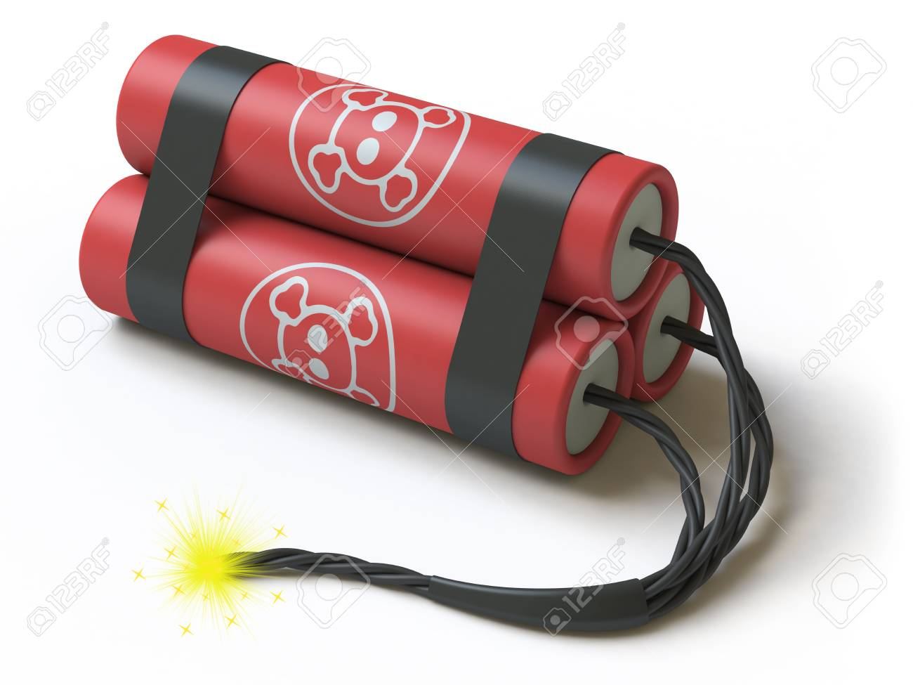 The bomb lies on a white surface, it is done in 3d Stock Photo - 4875878