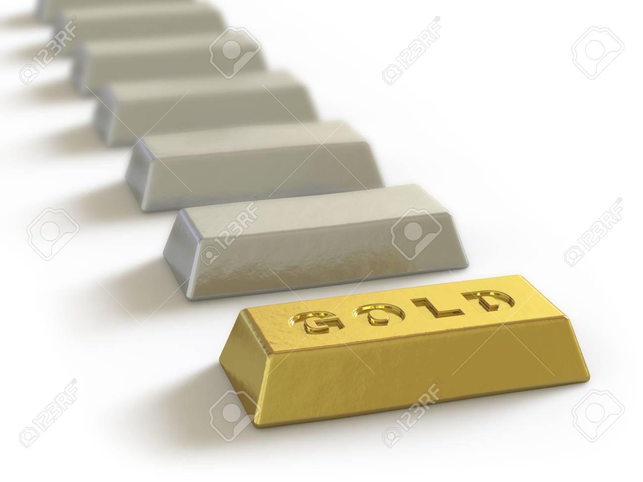 The gold ingot lies on a white surface Stock Photo - 5057969