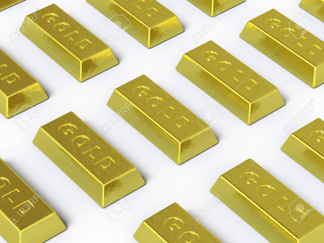 The gold ingot lies on a white surface Stock Photo - 5193000