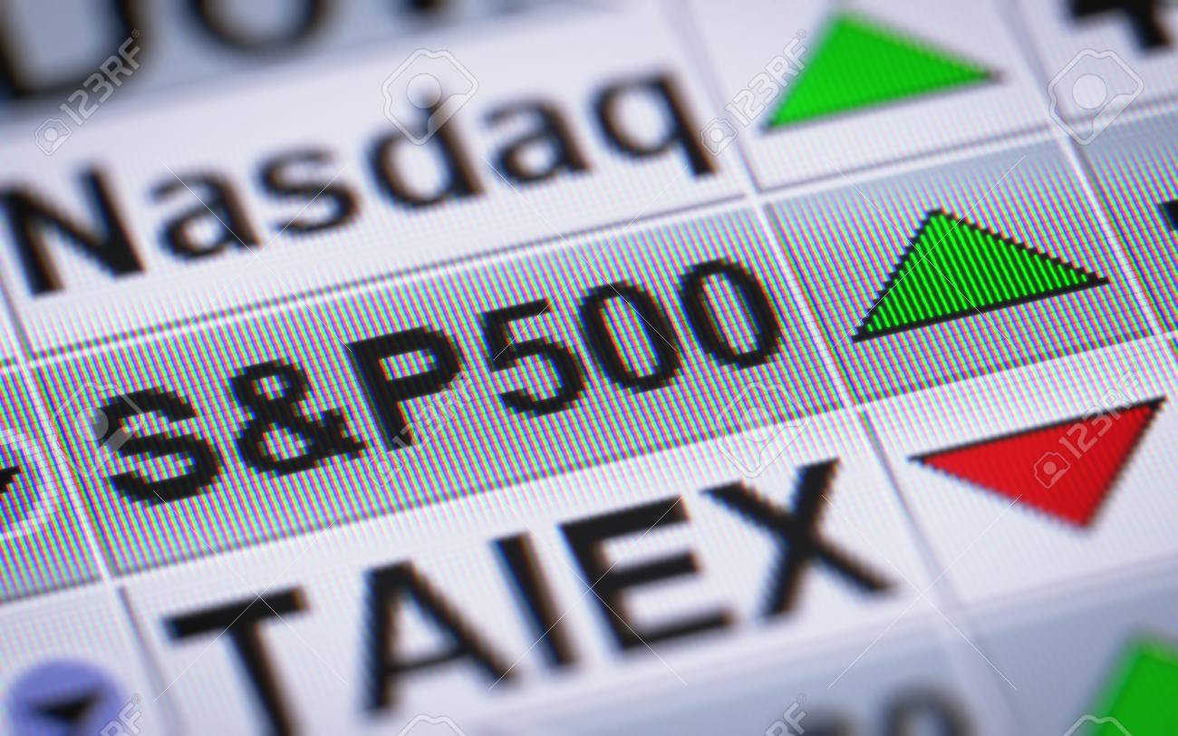 The Standard & Poor's 500 Is An American Stock Market Index Based On The  Market Capitalizations Of 500 Large Companies Having Common Stock Listed On  The NYSE Or NASDAQ. Up. Stock Photo,