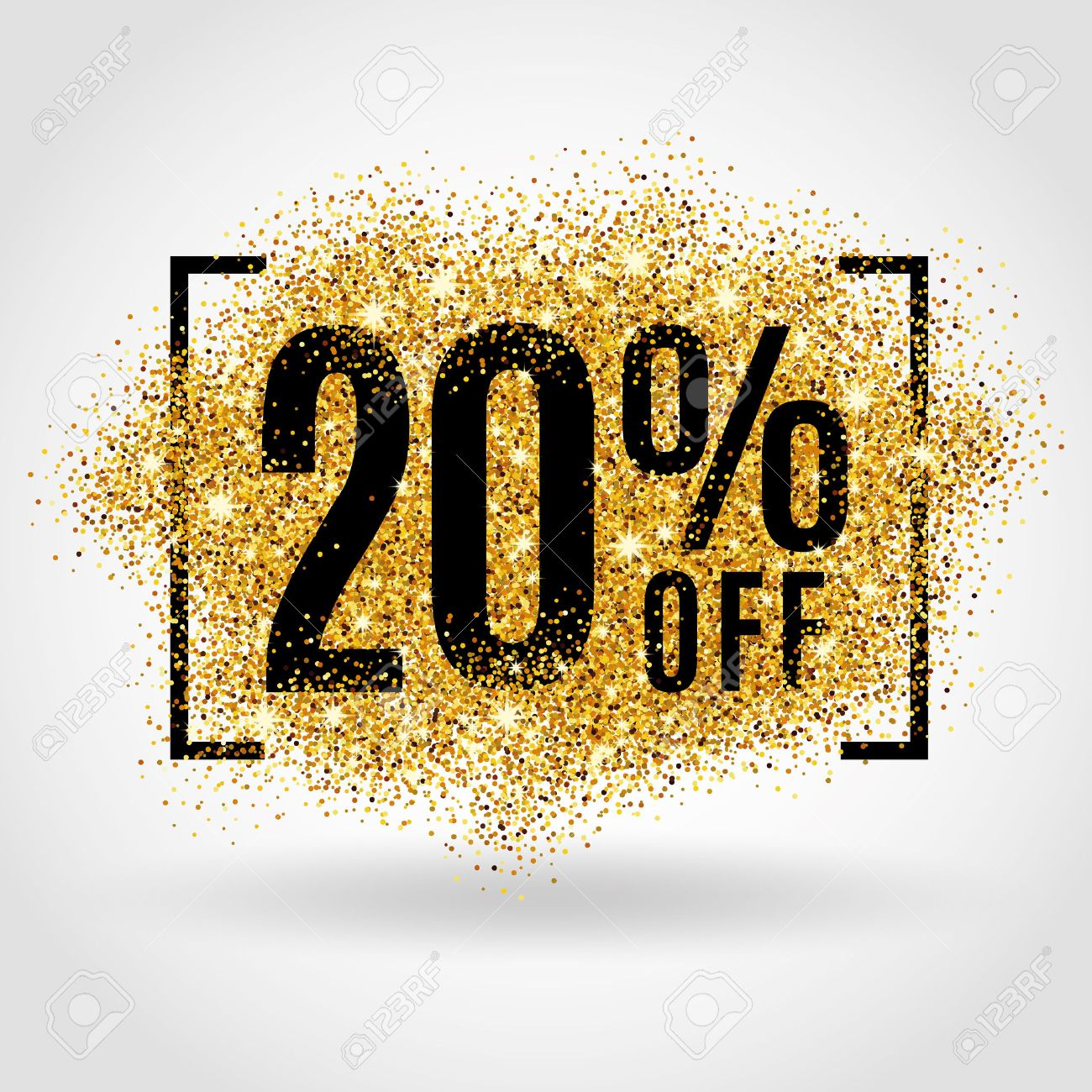 Gold sale 20% percent on gold background. Gold sale background for poster shopping for sale sign discount, marketing, selling, banner, web, header. Gold blur background - 52529996