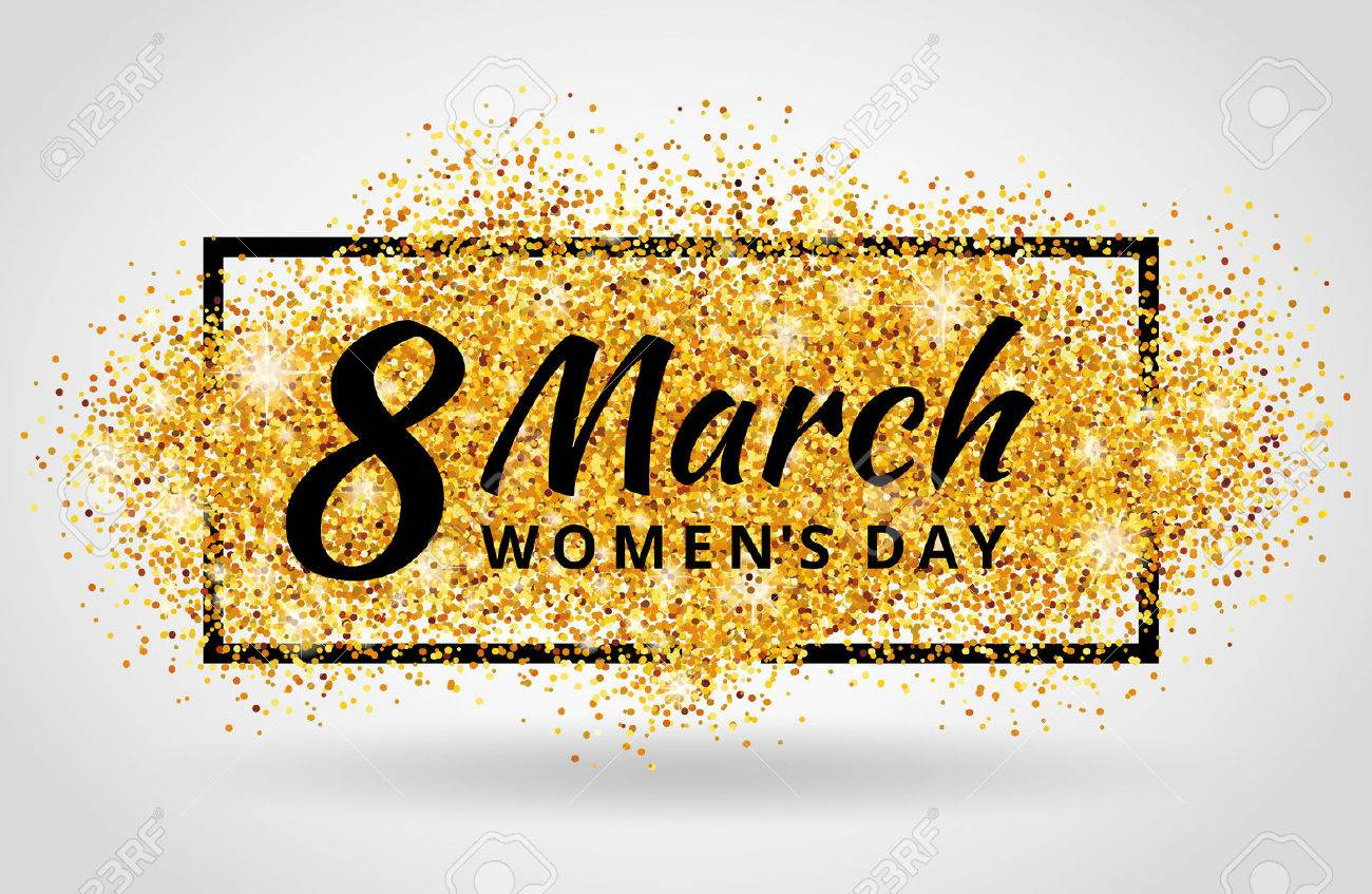 8 march women day. Gold glitter. Gold background for poster, sign, banner, web, header. Abstract golden background for eighth march. Gold blur background. - 52531552