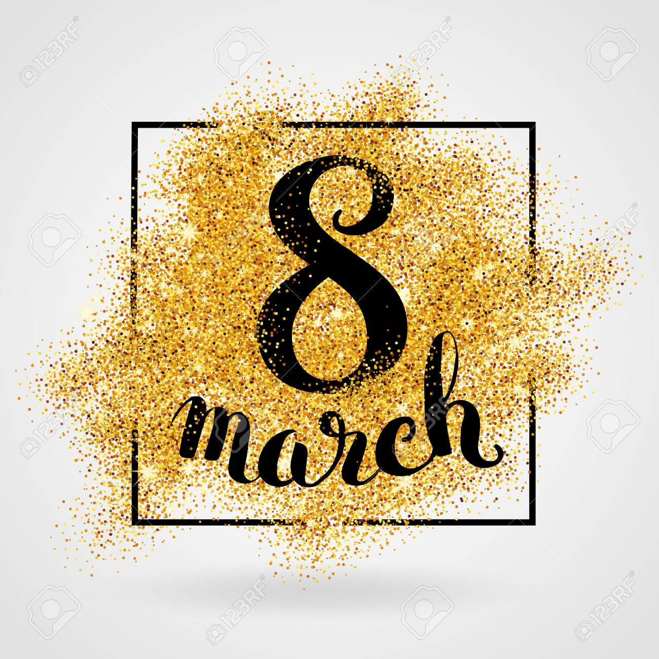 8 march women's day. Gold glitter. Gold background for poster, sign, banner, web, header. Abstract golden background for eighth march. Gold blur background. - 52533029