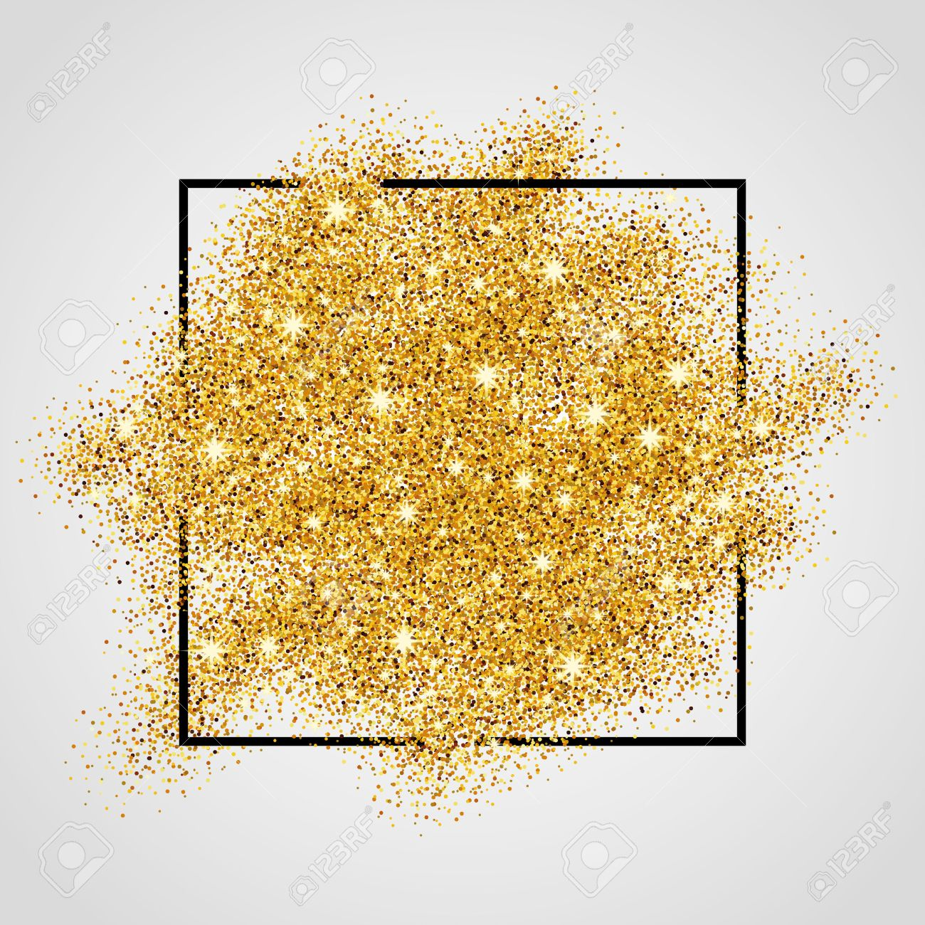 Gold sparkles on white background in frame. Gold glitter background. Gold background for card, vip, exclusive, certificate, gift, luxury, privilege, voucher, store, present, shopping. - 52579343