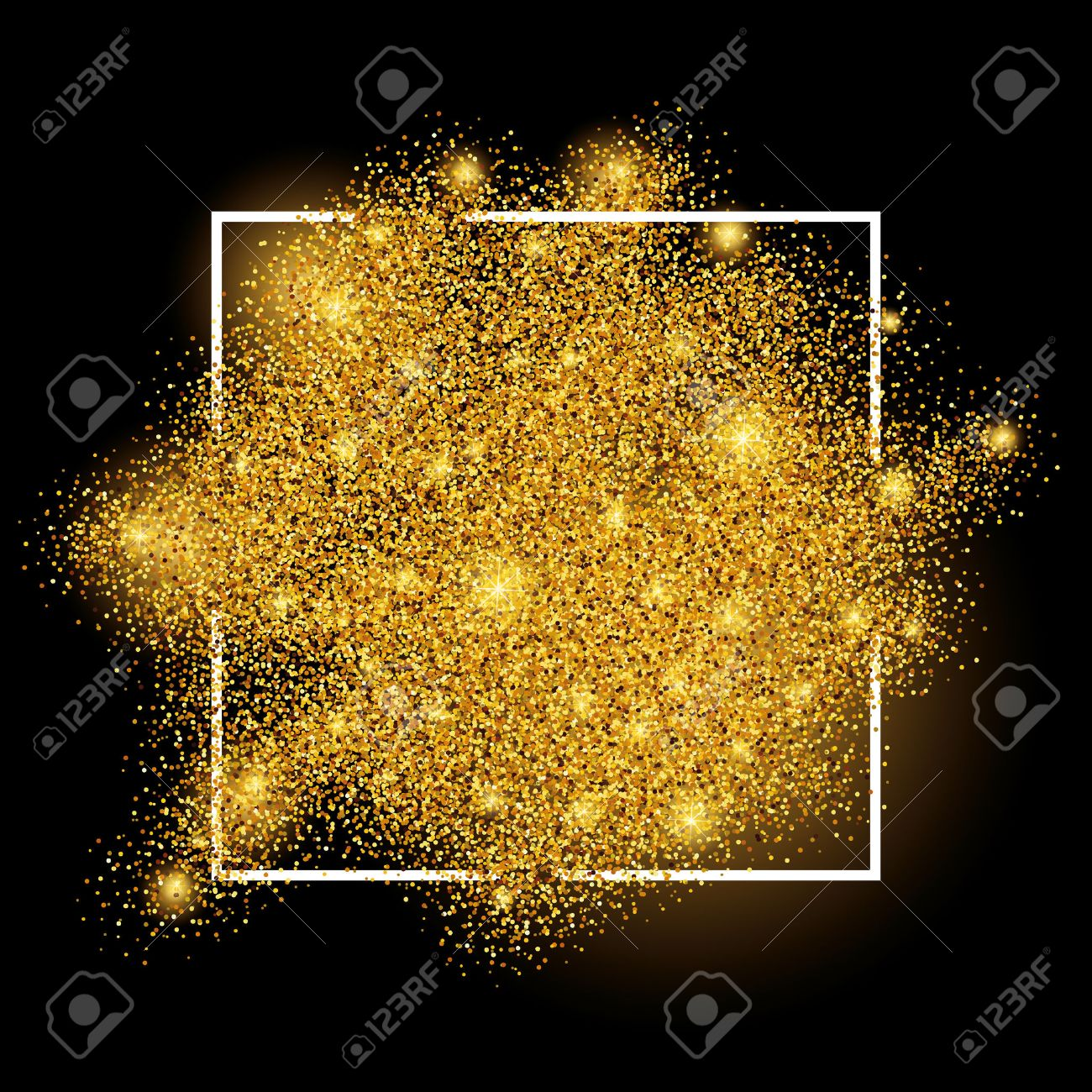 Gold sparkles on white background in frame. Gold glitter background. Gold background for card, vip, exclusive, certificate, gift, luxury, privilege, voucher, store, present, shopping. - 52579344