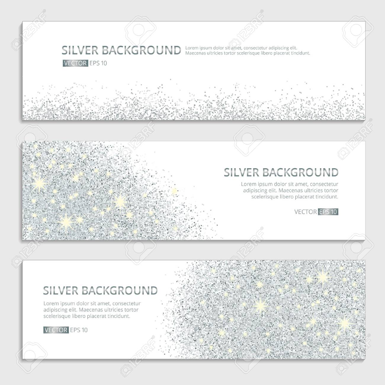 Silver sparkles on white background, banners. Silver banner with text. Banners , web, card. Vip certificate, gift, luxury privilege voucher, store present shopping sale header. - 52729562