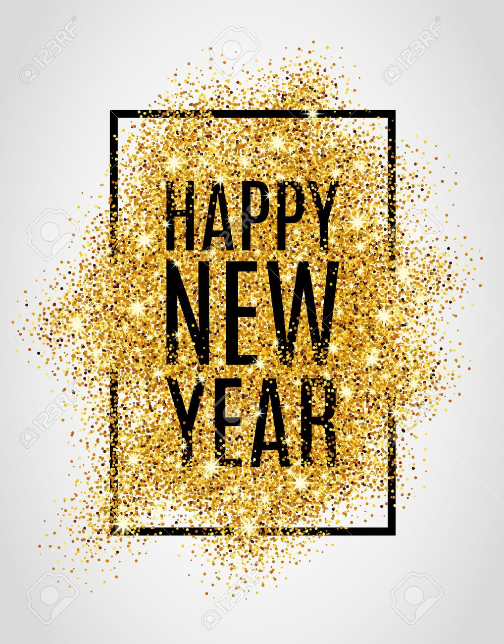 Happy new year. Gold glitter New Year. Gold background for poster. Sign symbol. web, header. Abstract golden background for text. Type quote. Gold blur background. - 52729568