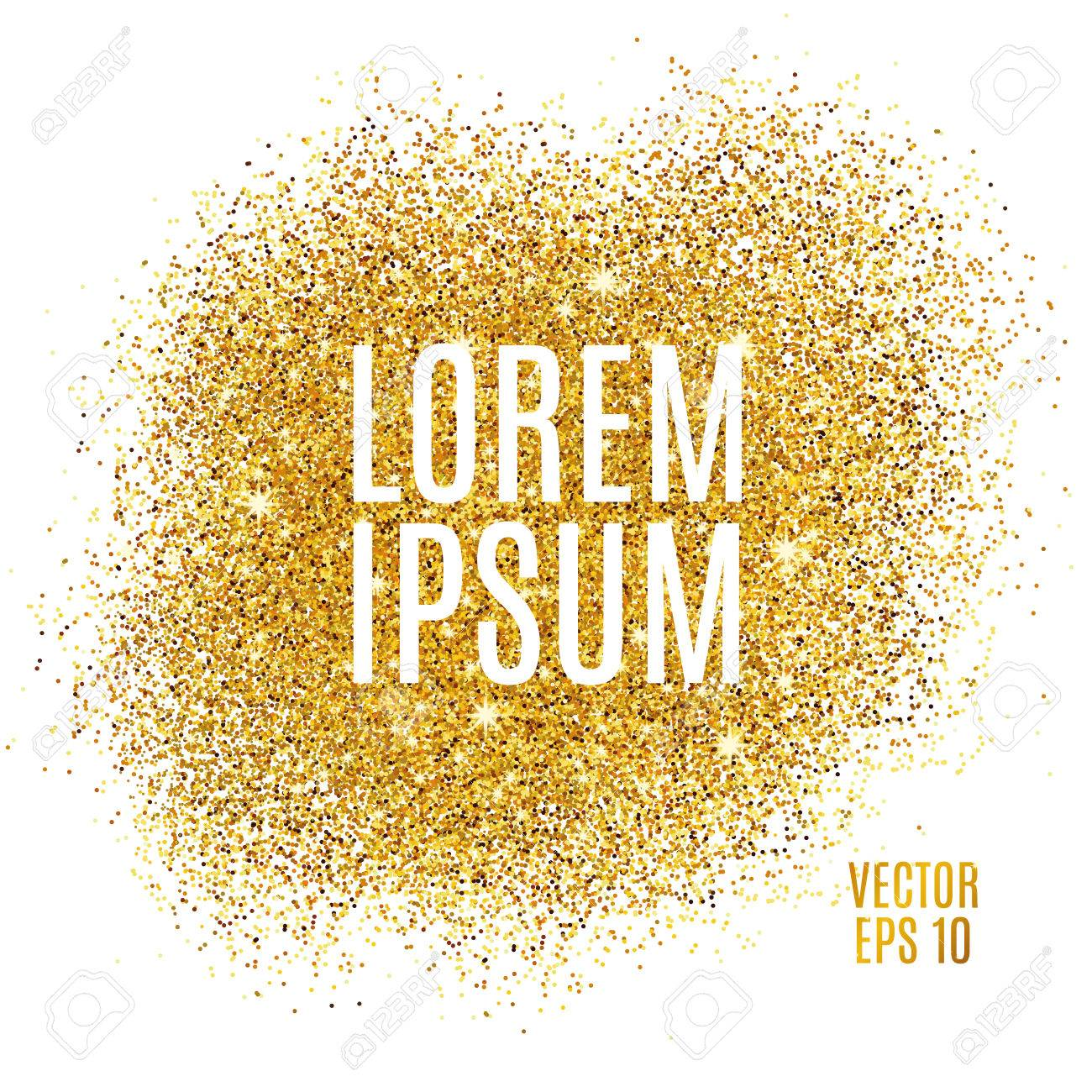 Gold sparkles on white background. Gold glitter background. Gold text for card, vip exclusive, certificate gift, luxury privilege, voucher, store present, shopping. - 52729572