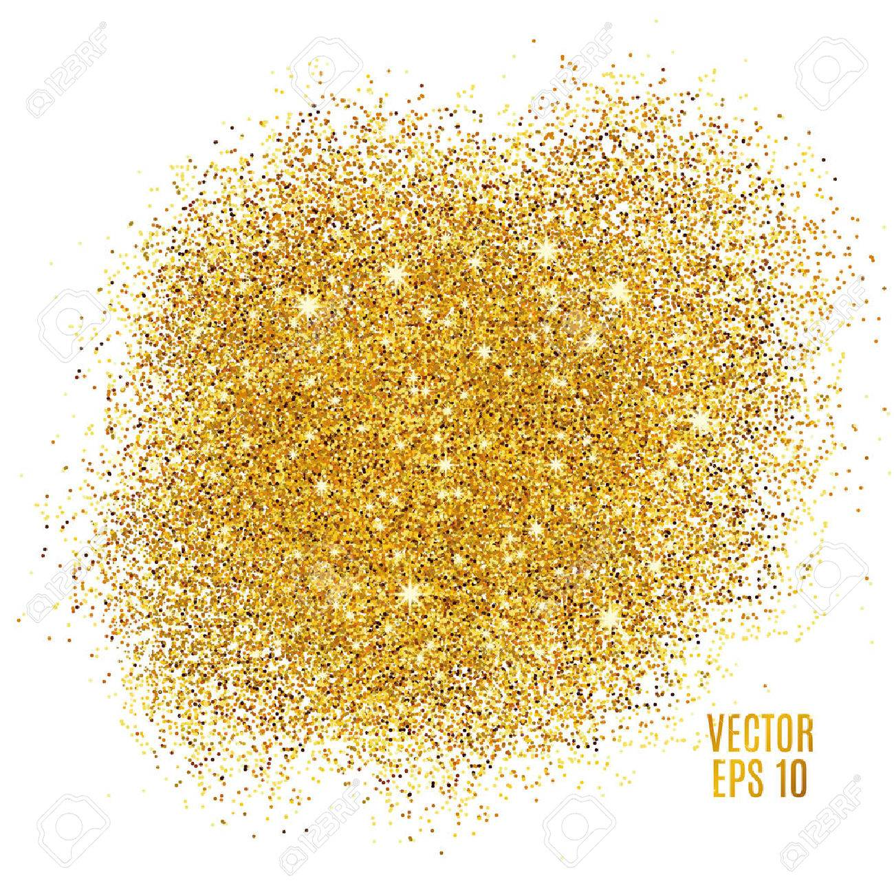 Gold Sparkles On White Background. Gold Glitter Background. Gold Background  For Card, Vip