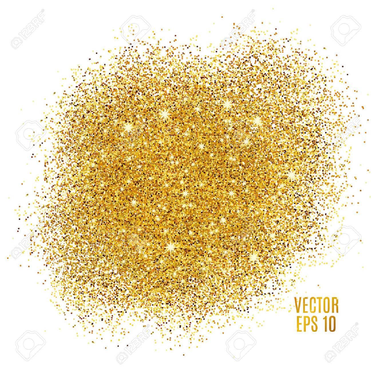 Gold sparkles on white background. Gold glitter background. Gold background for card, vip, exclusive. Gold certificate, gift, luxury privilege. Voucher store present, shopping. - 52729573