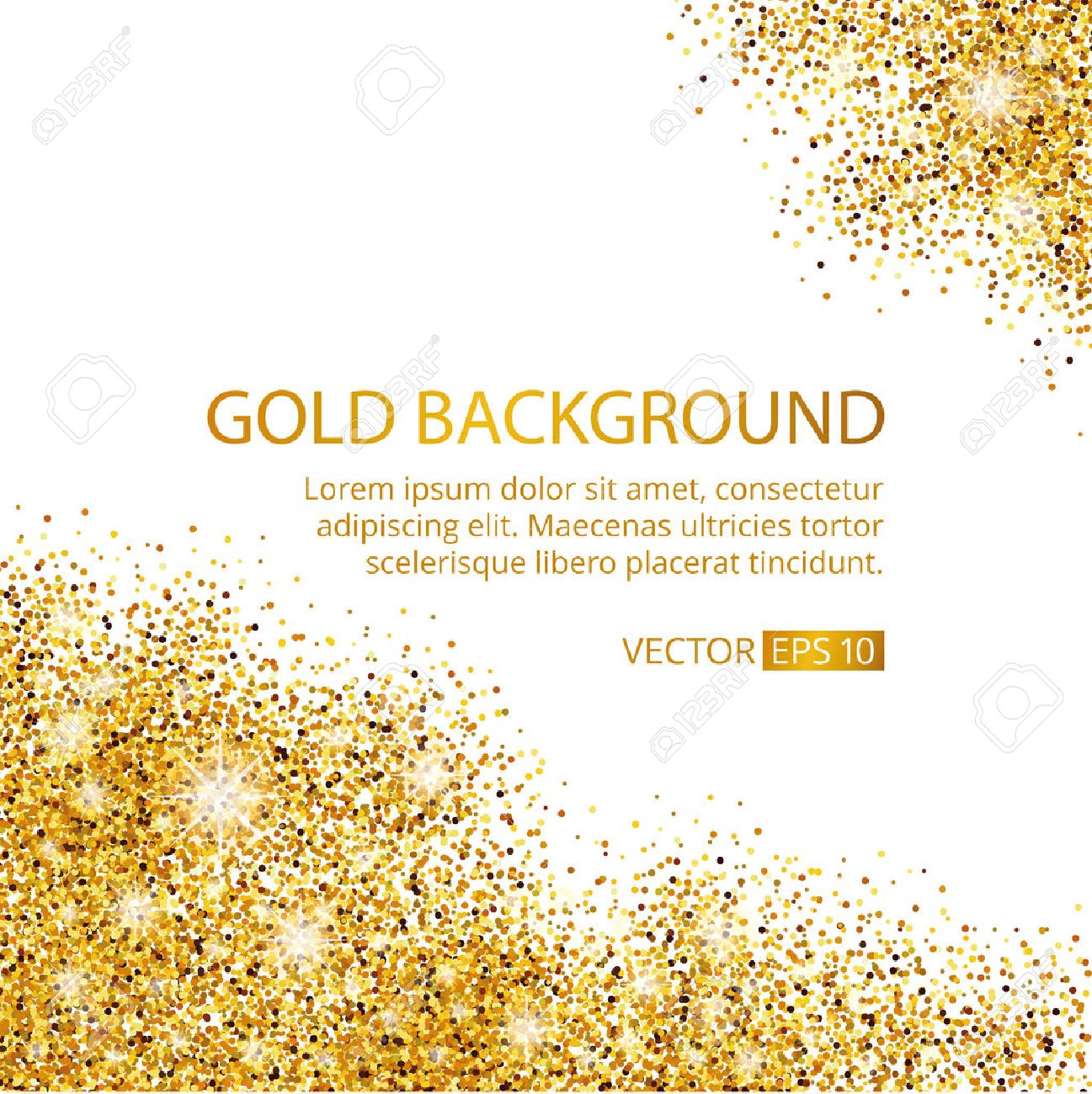 Gold sparkles corner on white background. Gold glitter background. Gold text for card, vip exclusive, certificate gift, luxury, privilege voucher. Store, present, shopping. - 52729587