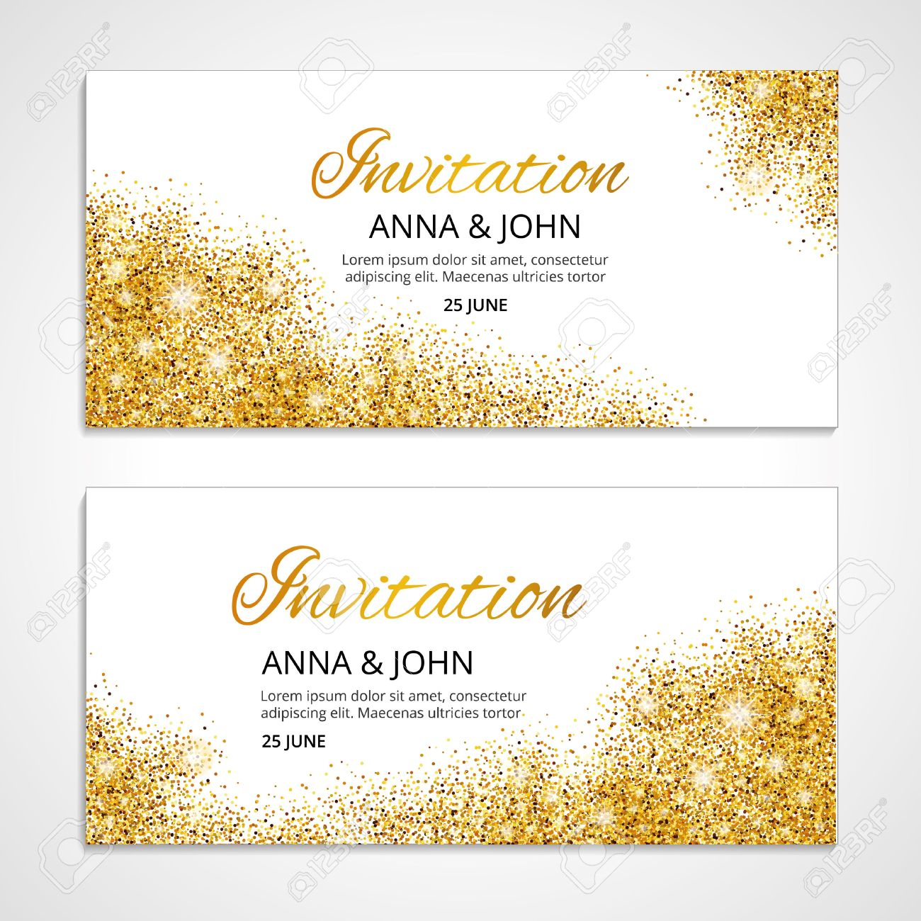 Gold wedding invitation for wedding, background, anniversary marriage engagement. Gold background. Golden greeting card. Save the date. Golden light and bright sparkles. For invitation. - 52729578