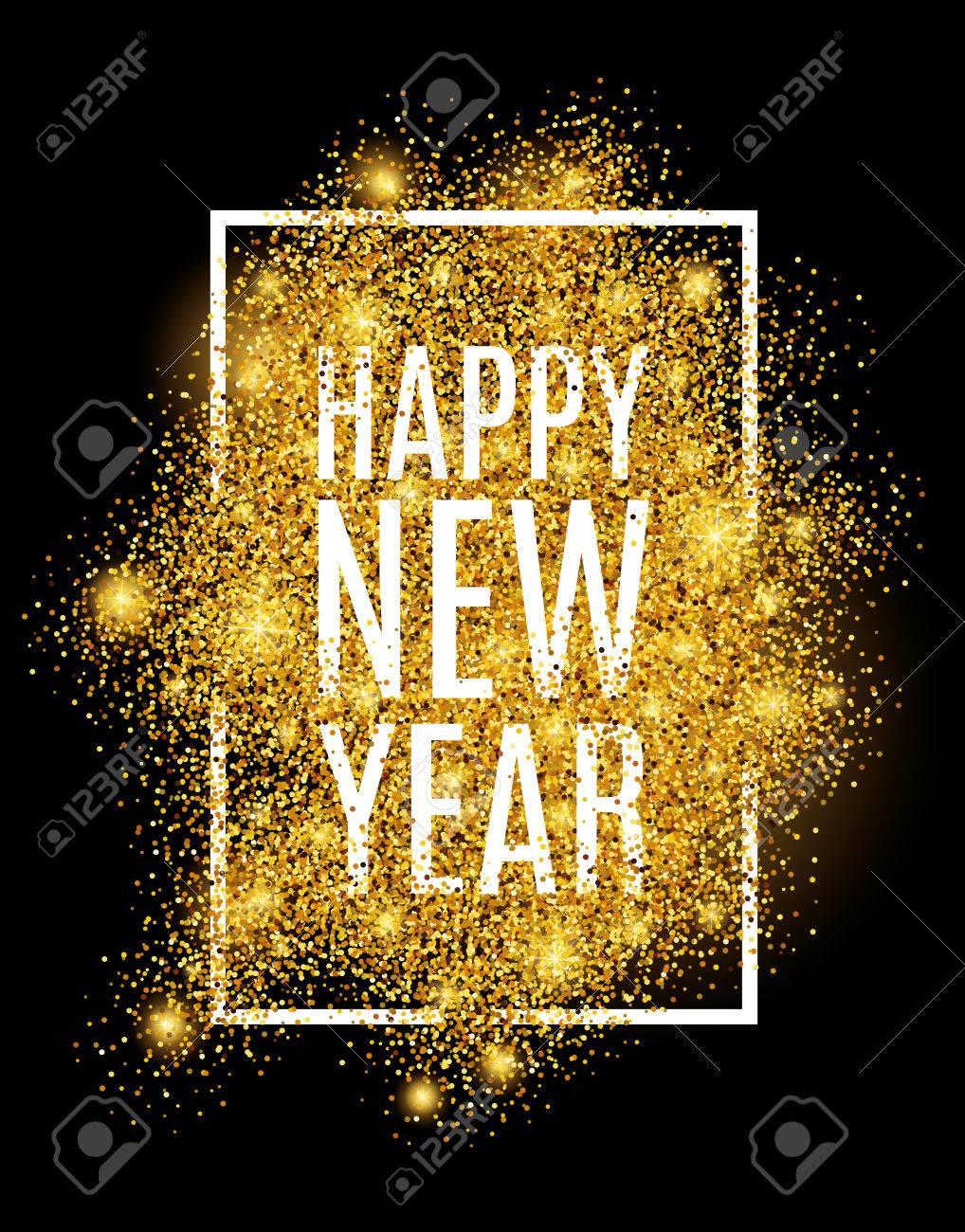 Happy new year. Gold glitter New Year. - 55171600