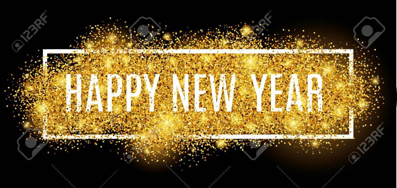 Happy new year. Gold glitter New Year. - 55171593