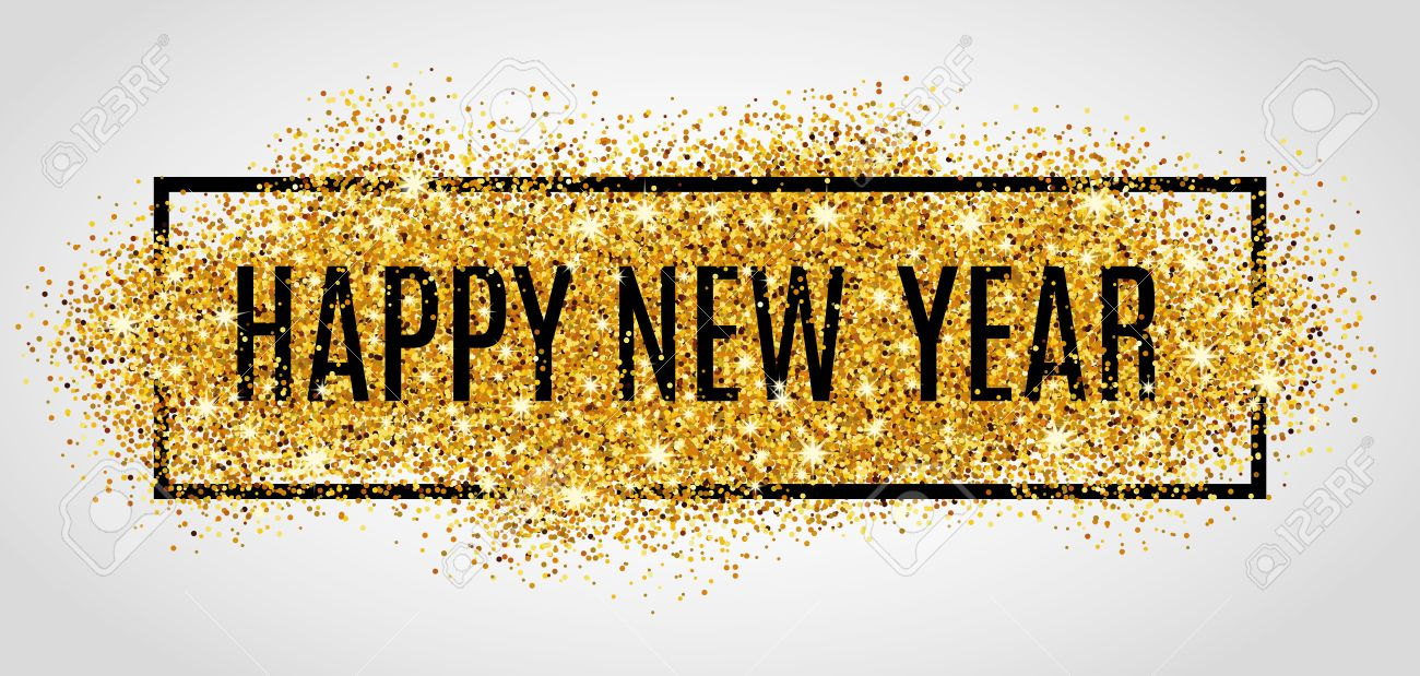 Happy new year. Gold glitter New Year. - 55171740