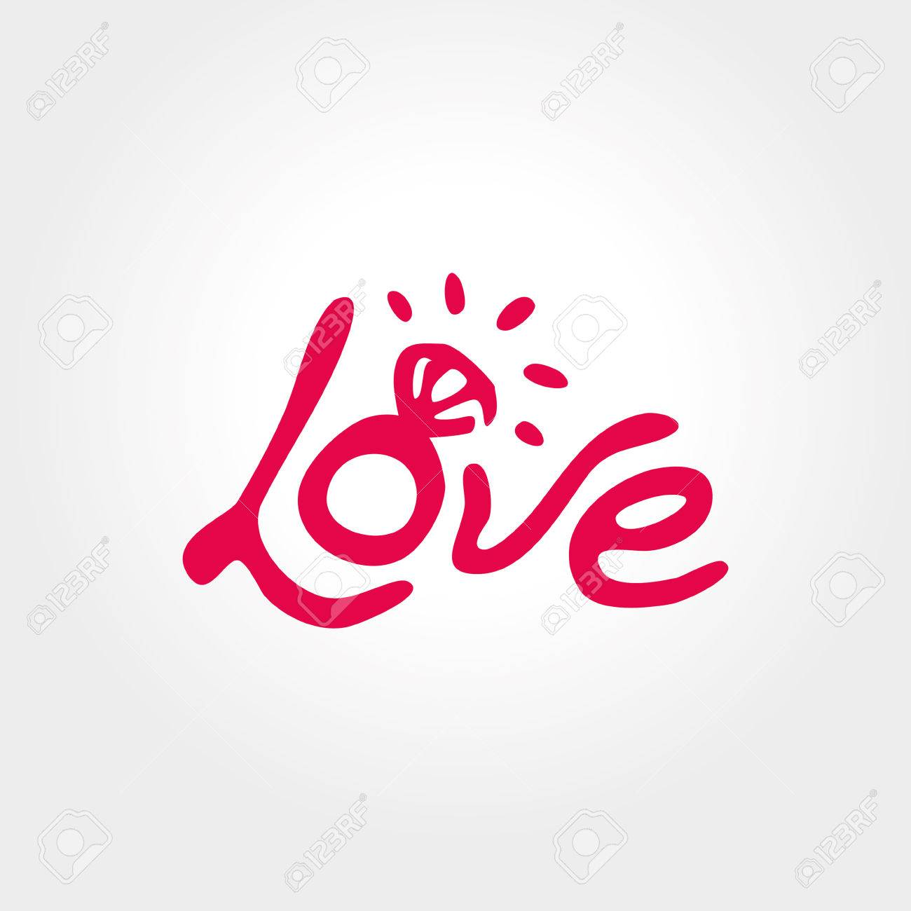 Love, ring, freehand letters love - 55171846