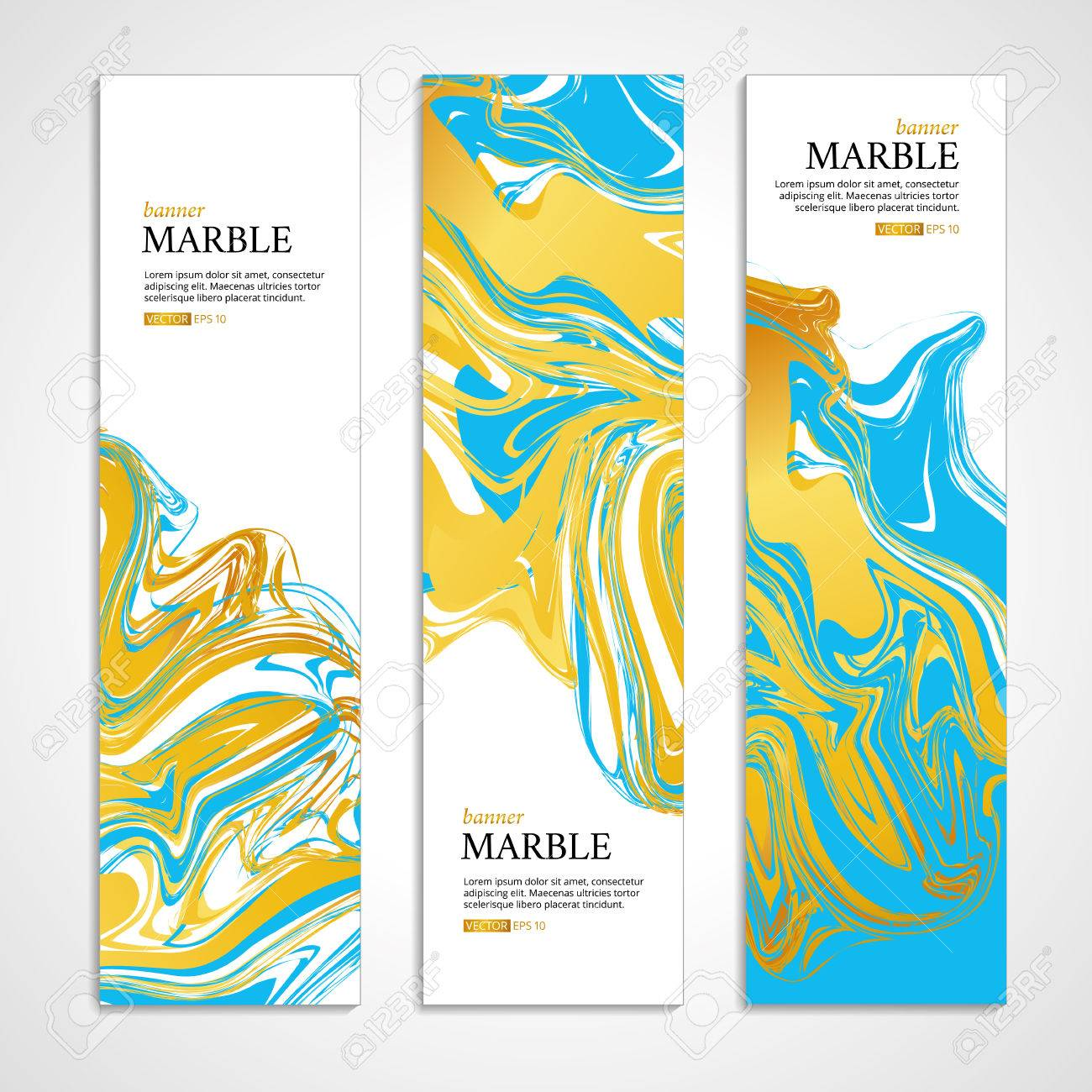 Marble texture banner. Abstract pattern for banner. Marble yellow background, banners. Gold marble. Blue background. Banners for , web, card, vip exclusive certificate, gift luxury voucher. - 56220416