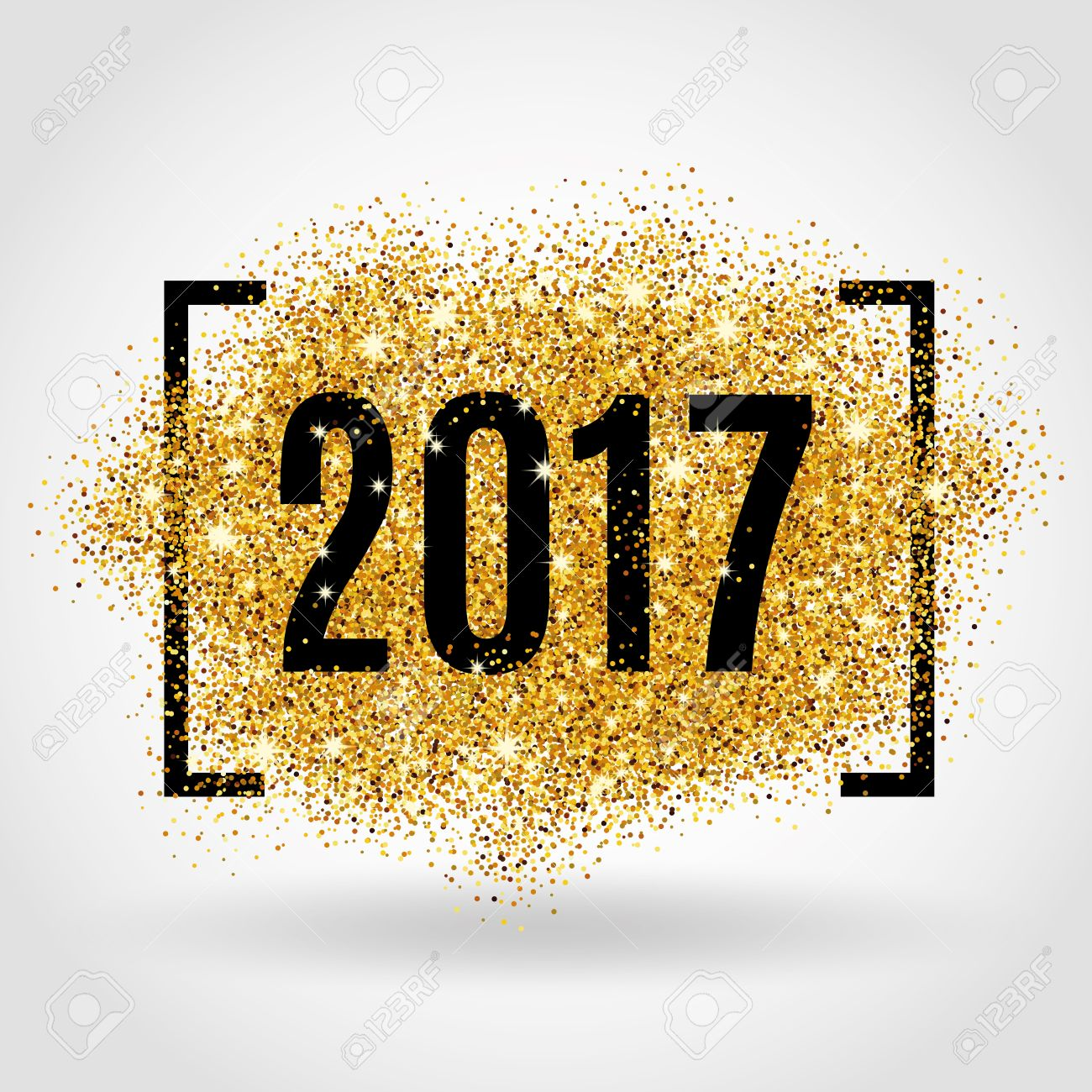 Happy new year. Gold glitter New Year. Gold background for flyer, poster. Sign symbol. Banner, web, header. Abstract golden background for text. Type quote. Gold blur background. - 60981823