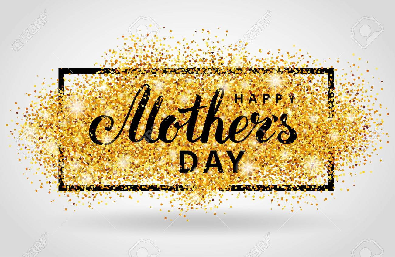 Happy Mother day gold glitter background. Golden design in frame, border for greeting card, flyer poster, sign, banner, web header. Abstract sparkle texture for mothers day. Light blur sequin. - 69701736