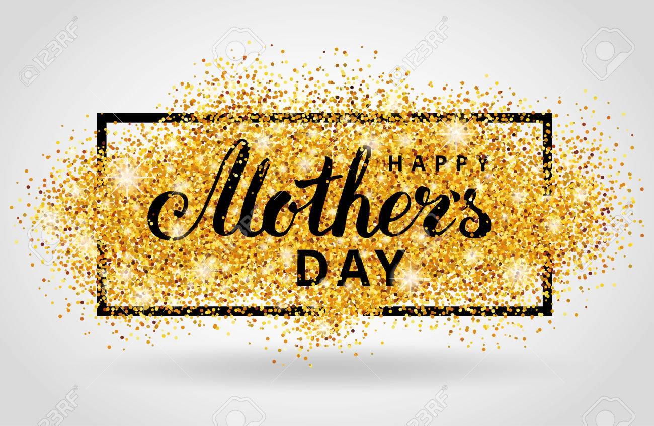 Happy Mother Tag Gold-Glitter Hintergrund. Golden Design In Rahmen ...