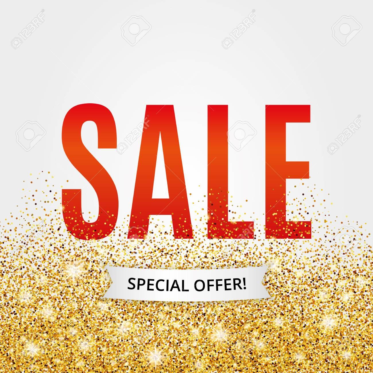 Gold Verkauf Roten Hintergrund Für Poster Einkaufen Zeichen Für Den