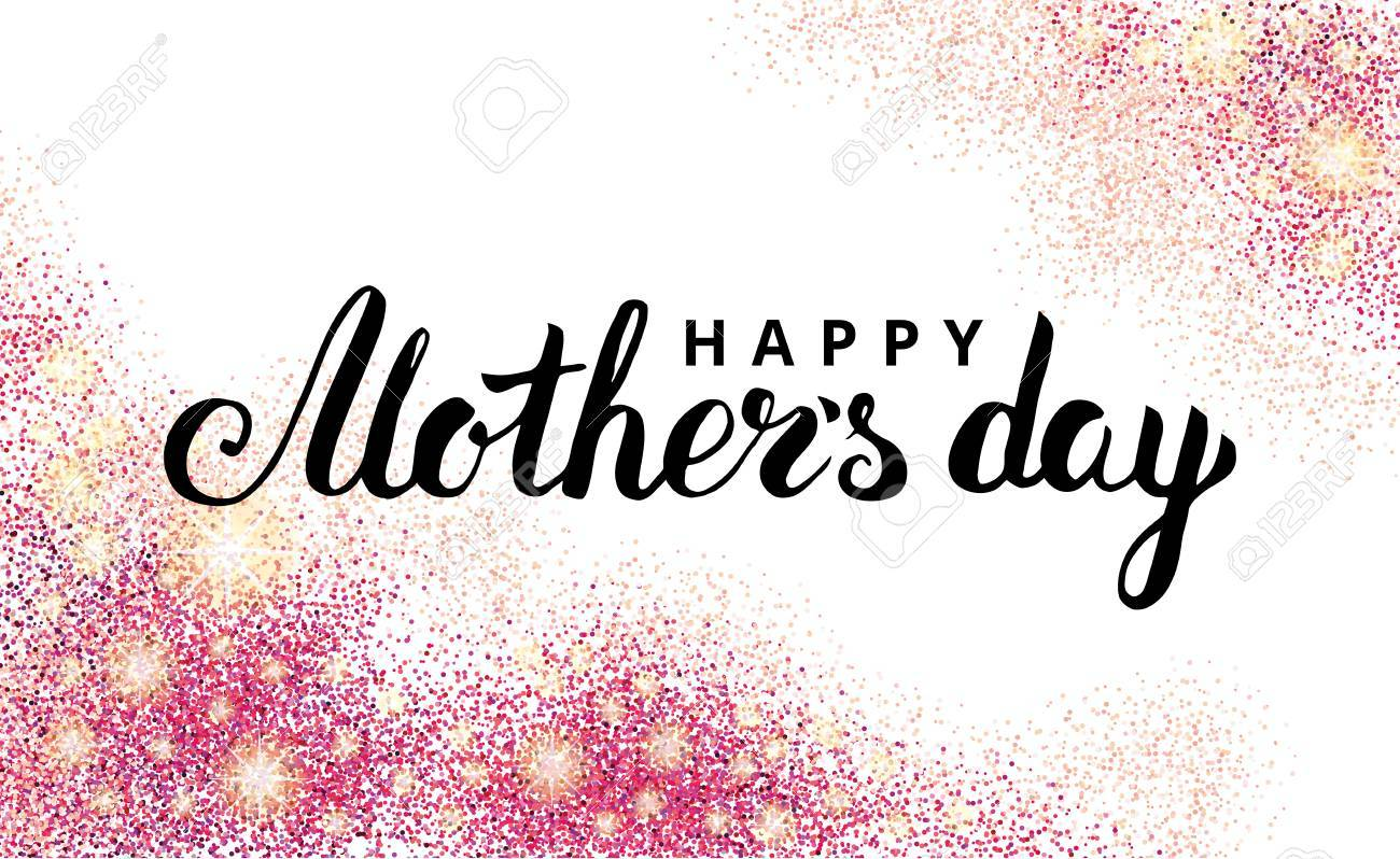 Happy Mother Day Pink Glitter Background Sparkles Design In Frame Border For Greeting Card