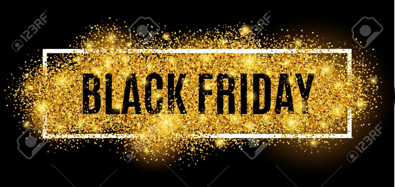 Black friday sale gold glitter background. Black shine gold sparkles background. Black friday sale for web, header and design. Christmas and new year shopping. - 63415793