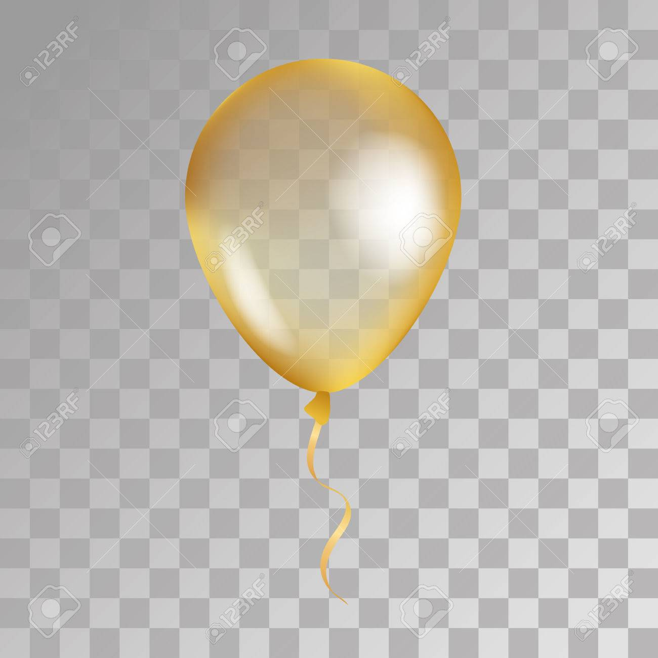 Gold transparent balloon on background. Frosted party balloons for event design. Balloons isolated in the air. Party decorations for birthday, anniversary, celebration. Shine transparent balloon. - 63415798