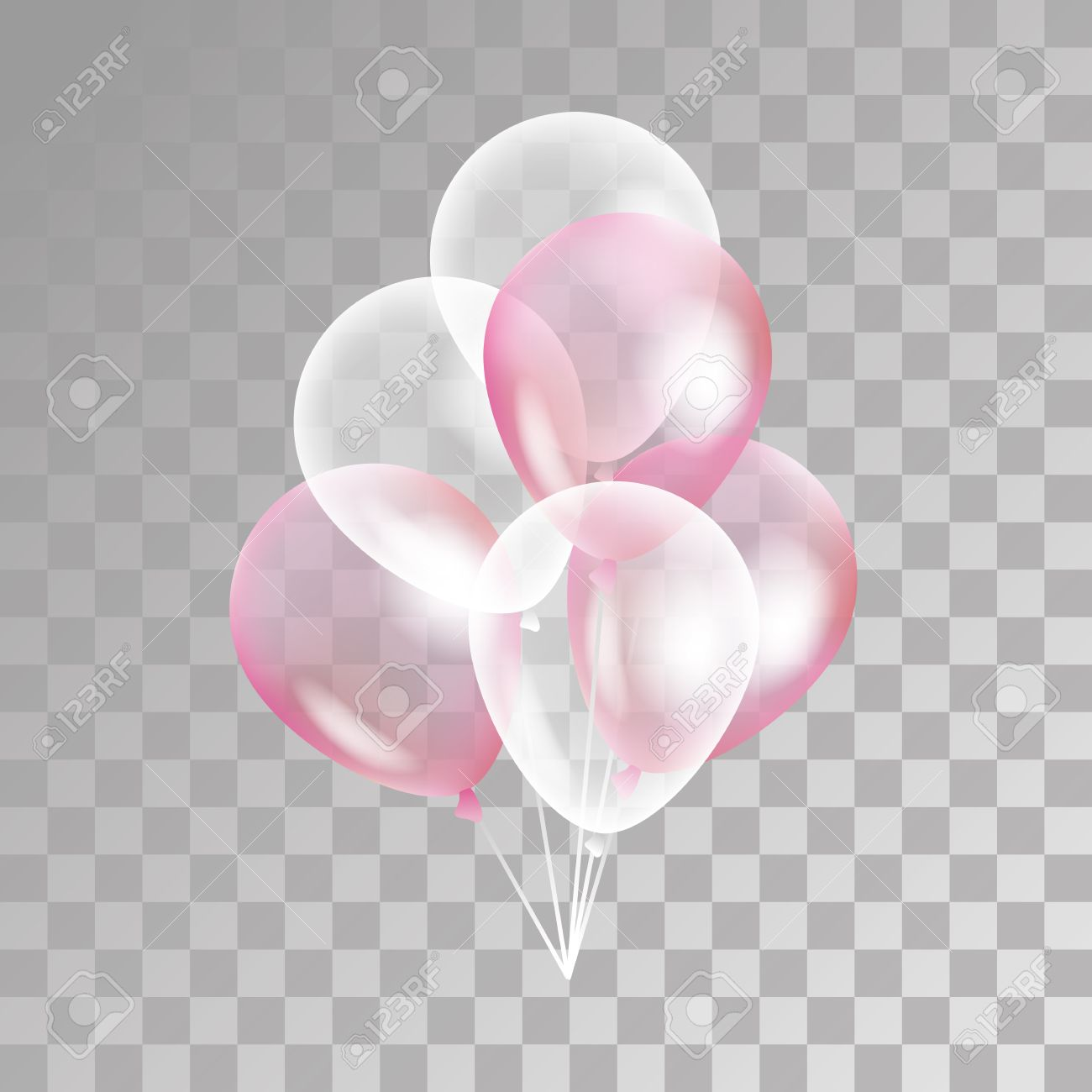 Pink transparent balloon on background. Frosted party balloons for event design. Balloons isolated in the air. Party decorations for birthday, anniversary, celebration. Shine transparent balloon. - 63415801