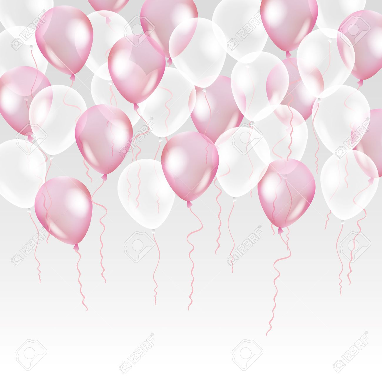 Pink transparent balloon on background. Frosted party balloons for event design. Balloons isolated in the air. Party decorations for birthday, anniversary, celebration. Shine transparent balloon. - 63415797