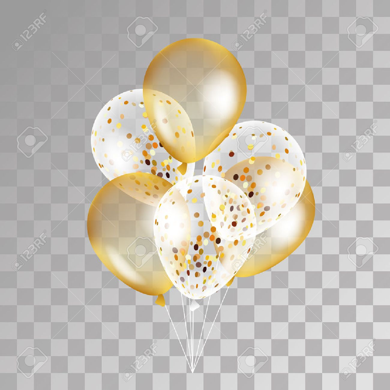 Gold transparent balloon on background. Frosted party balloons for event design. Balloons isolated in the air. Party decorations for birthday, anniversary, celebration. Shine transparent balloon. - 63415800