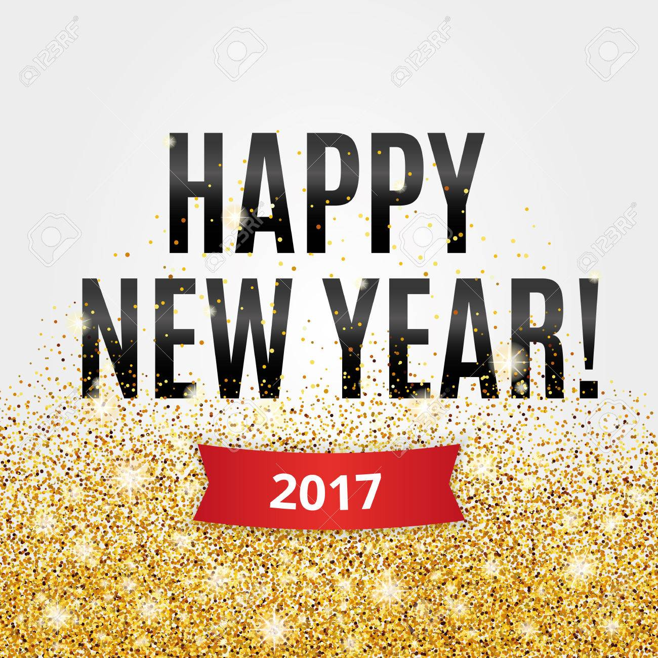 Happy New Year. Gold Glitter New Year. Gold Background For Flyer ...