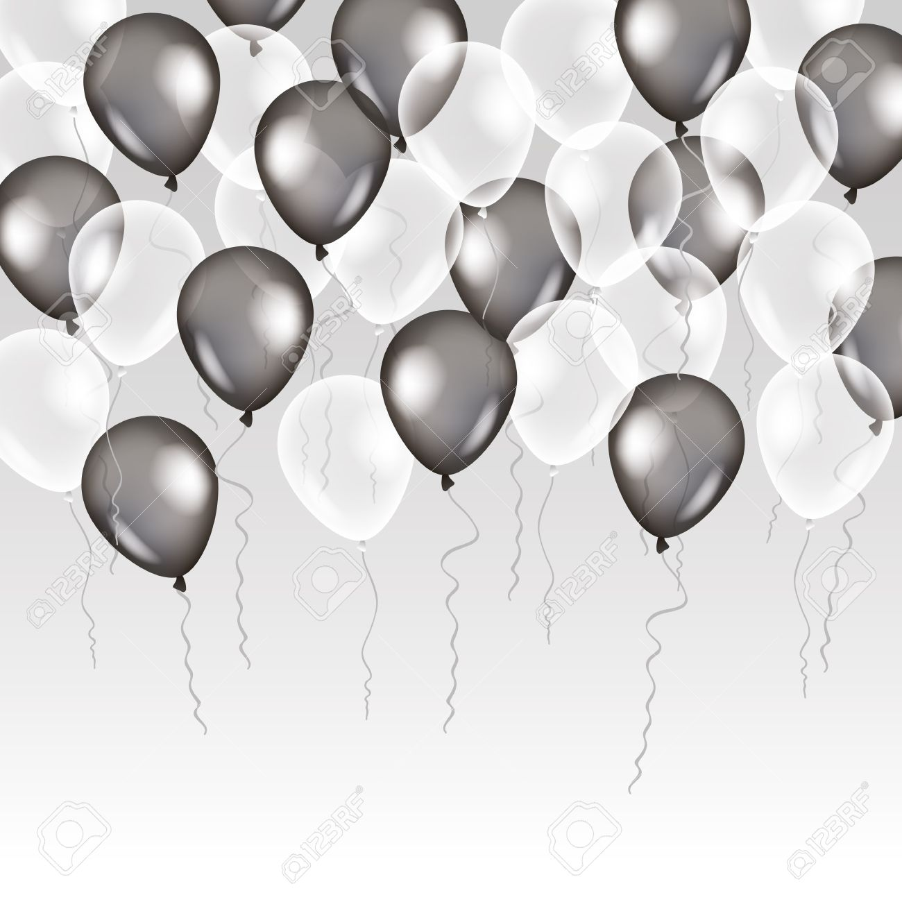 black white transparent balloon on background frosted party