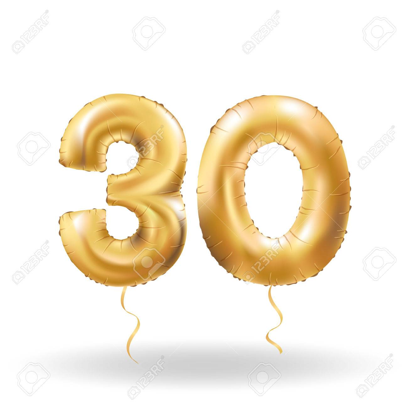 Golden number thirty metallic balloon. Party decoration golden balloons. Anniversary sign for happy holiday, celebration, birthday, carnival, new year. Metallic design balloon. - 67018804
