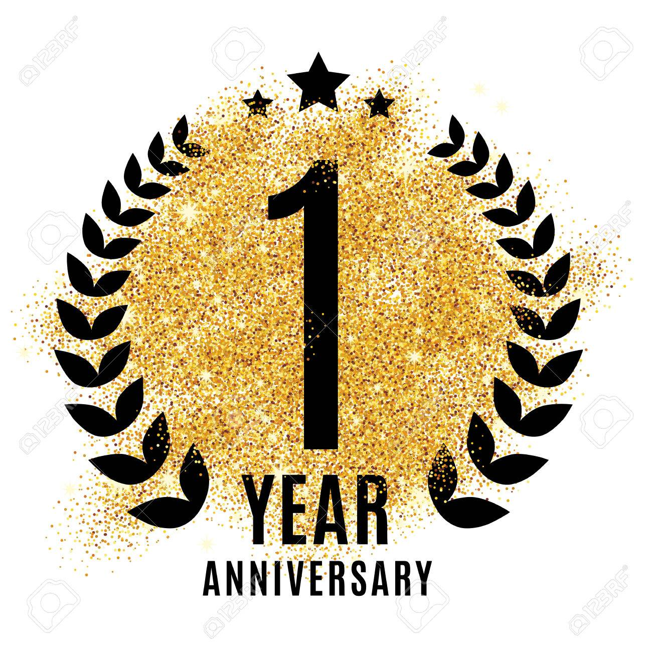 One year golden anniversary sign gold glitter celebration light one year golden anniversary sign gold glitter celebration light bright symbol for event stopboris Image collections