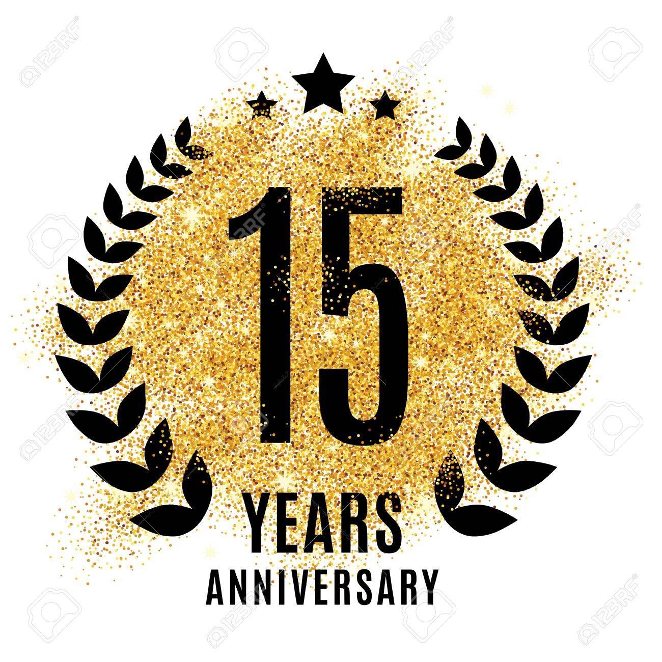fifteen years golden anniversary sign. Gold glitter celebration. Light bright symbol for event, invitation, award, ceremony, greeting. Laurel and star emblem, luxury elegant icon. - 67585540