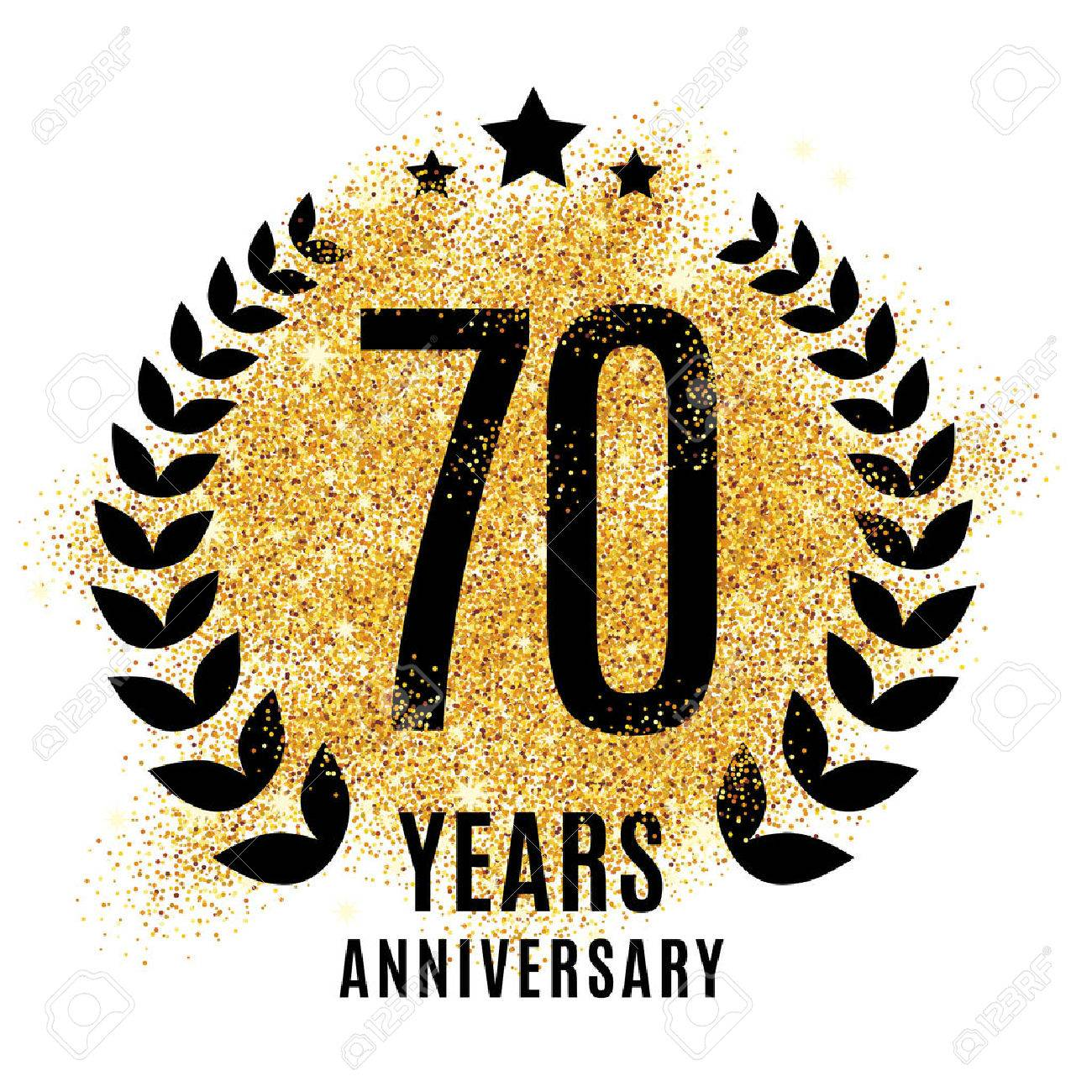Seventy years golden anniversary sign. Gold glitter celebration. - 67586888