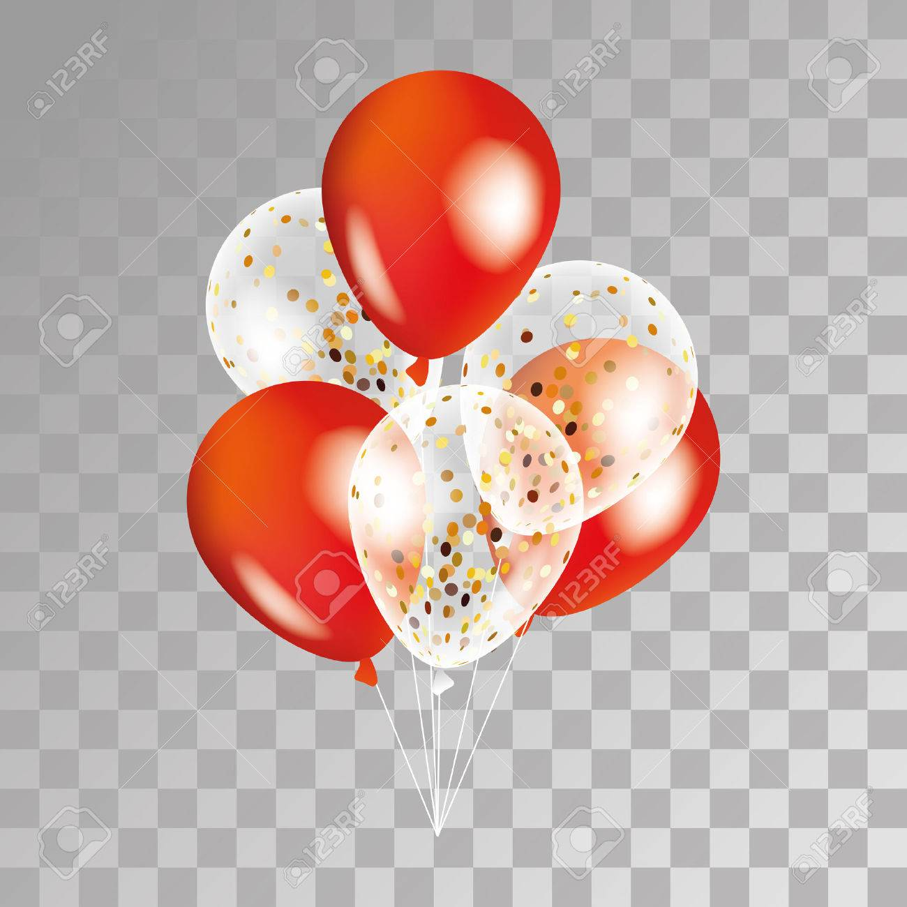 Gold and red transparent balloon on background. Party balloons for event design. Balloons isolated in the air. Party decorations for birthday, anniversary, celebration. Shine transparent balloon. - 67586890