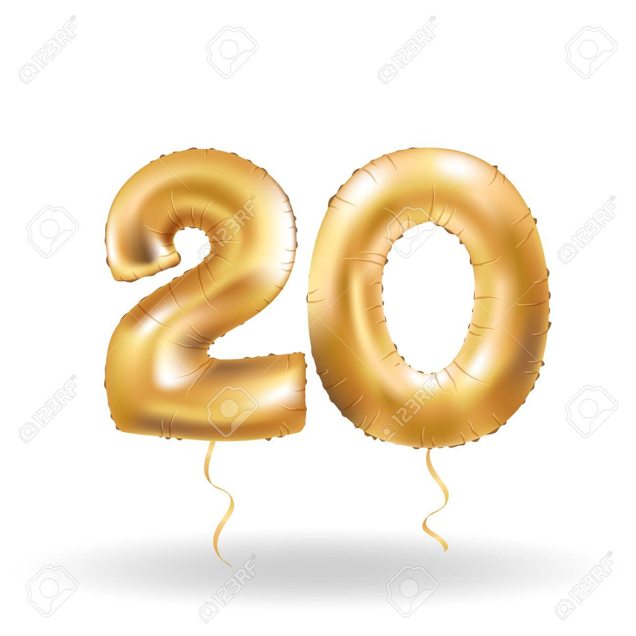 Golden number 20 twenty metallic balloon. Party decoration golden balloons. Anniversary sign for happy holiday, celebration, birthday, carnival, new year. Metallic design balloon. - 67064243