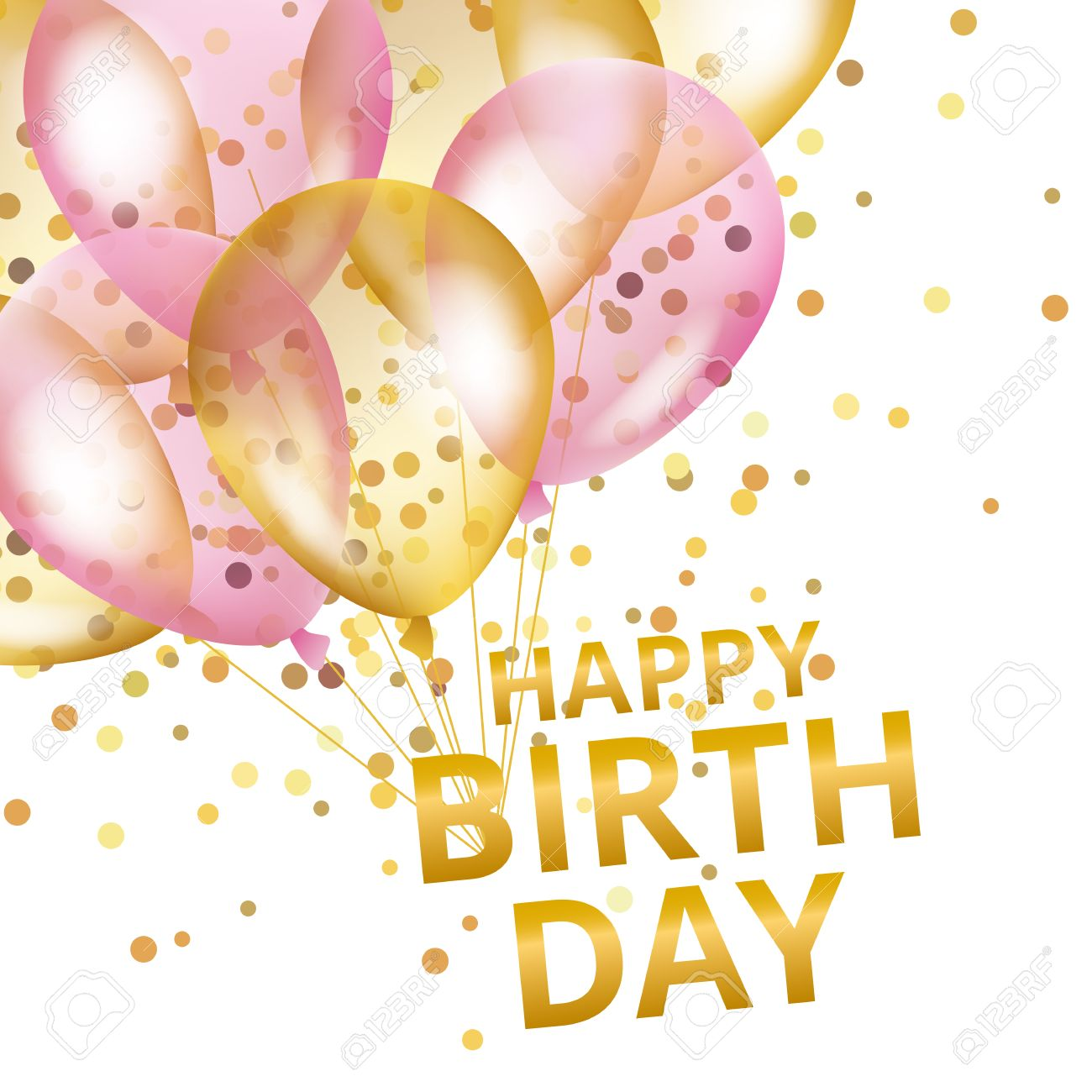 Balloons Happy Birthday Gold Pink Background Greeting