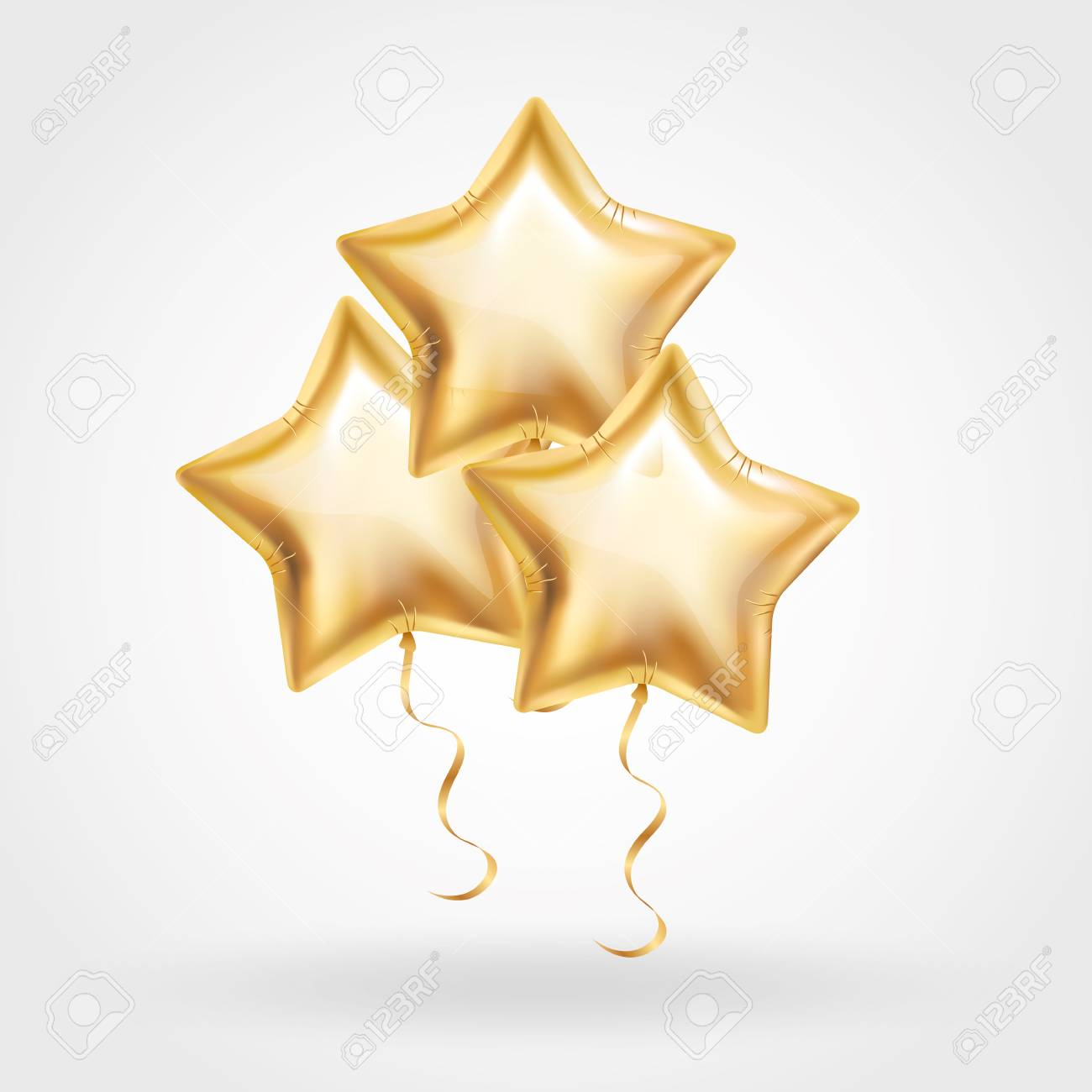 3 Three Gold star balloon on background. Party balloons event design decoration. Balloons isolated in air. Party decorations wedding, birthday, celebration, anniversary, award. Shine Golden balloon - 72172434