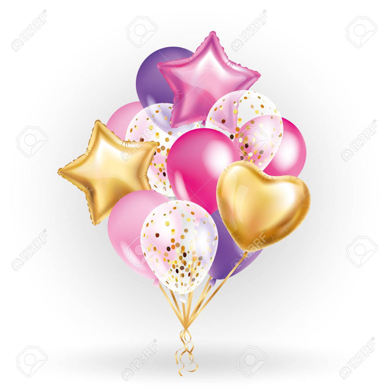 Heart star Gold balloon Bouquet. Frosted party balloons event design. Balloons isolated in the air. Party decorations for wedding, birthday, celebration, love, valentines, kids. Color transparent balloon - 72632091