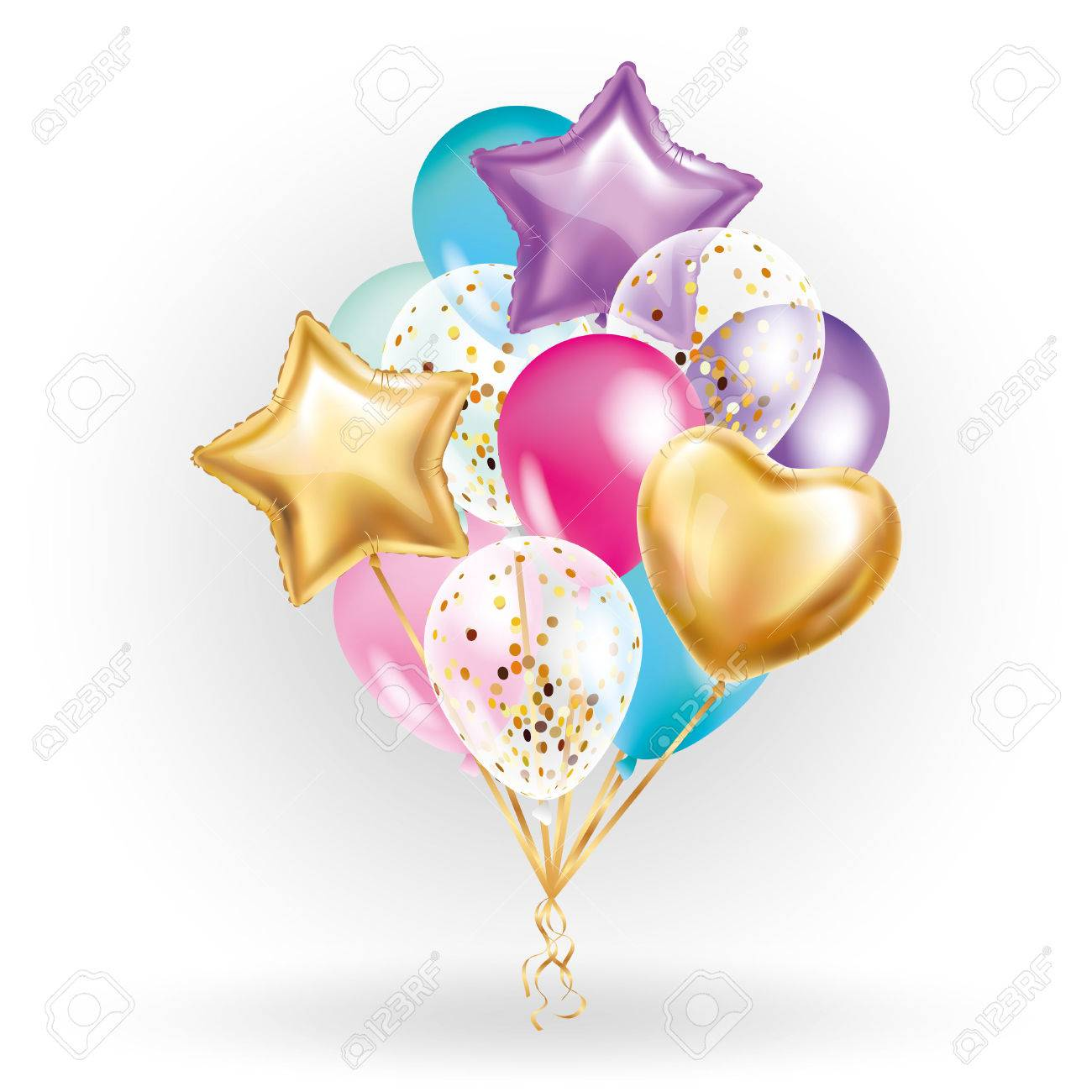 Heart star Gold balloon Bouquet. Frosted party balloons event design. Balloons isolated in the air. Party decorations for wedding, birthday, celebration, love, valentines, kids. Color transparent balloon - 72785786