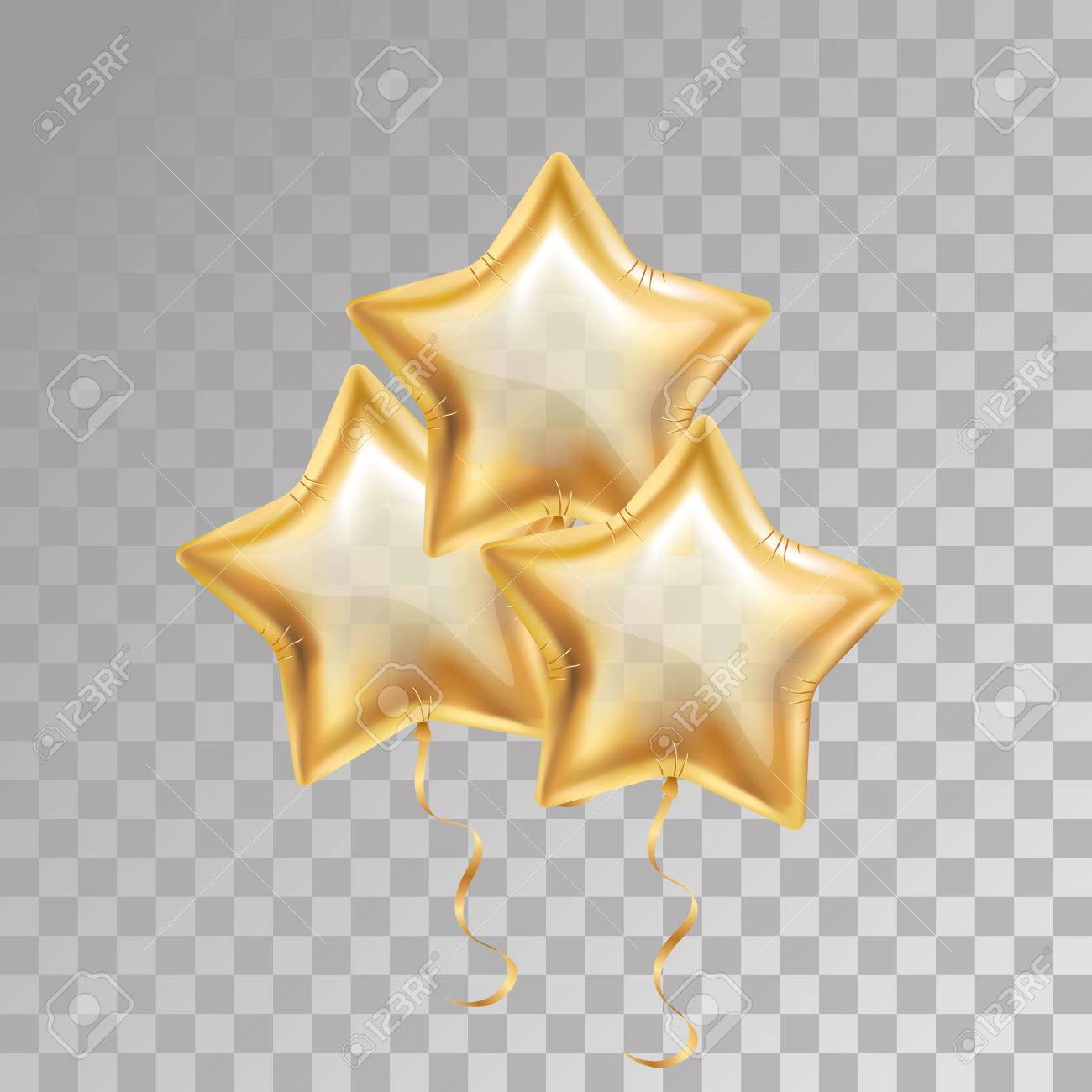 3, Three, Gold Star Balloon On Transparent Background. Party ...