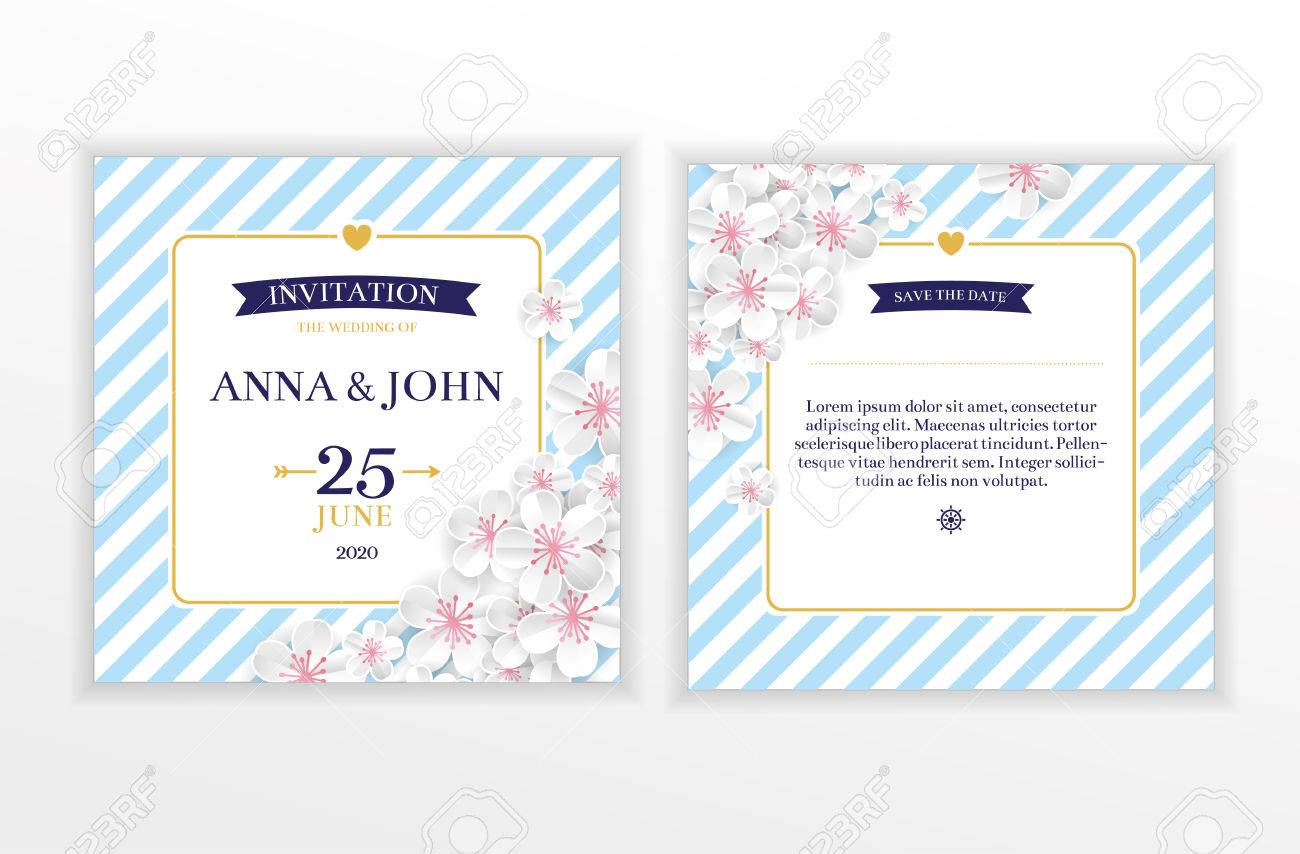 Marine nautical flower wedding invitation Stock Vector - 76863422