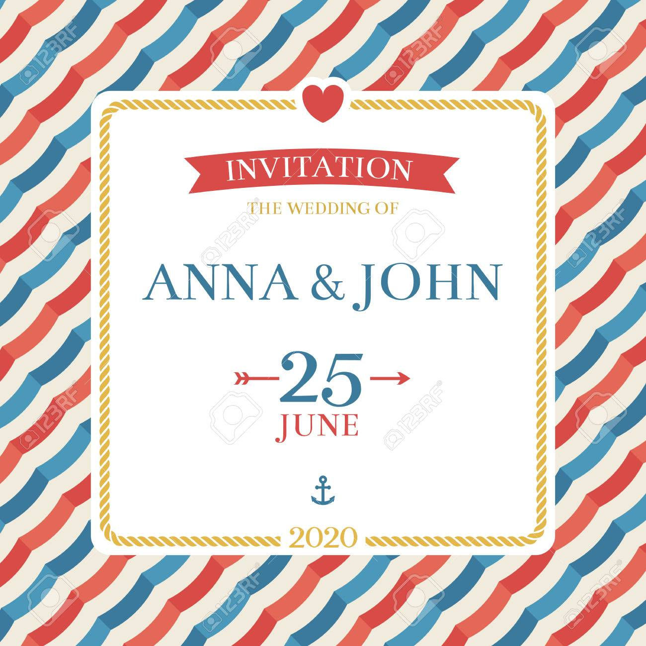 Marine Nautical Wedding Invitation. Anchor, Stripes And Rope ...